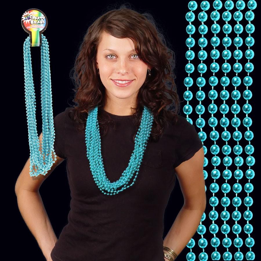 Metallic Teal Bead Necklaces