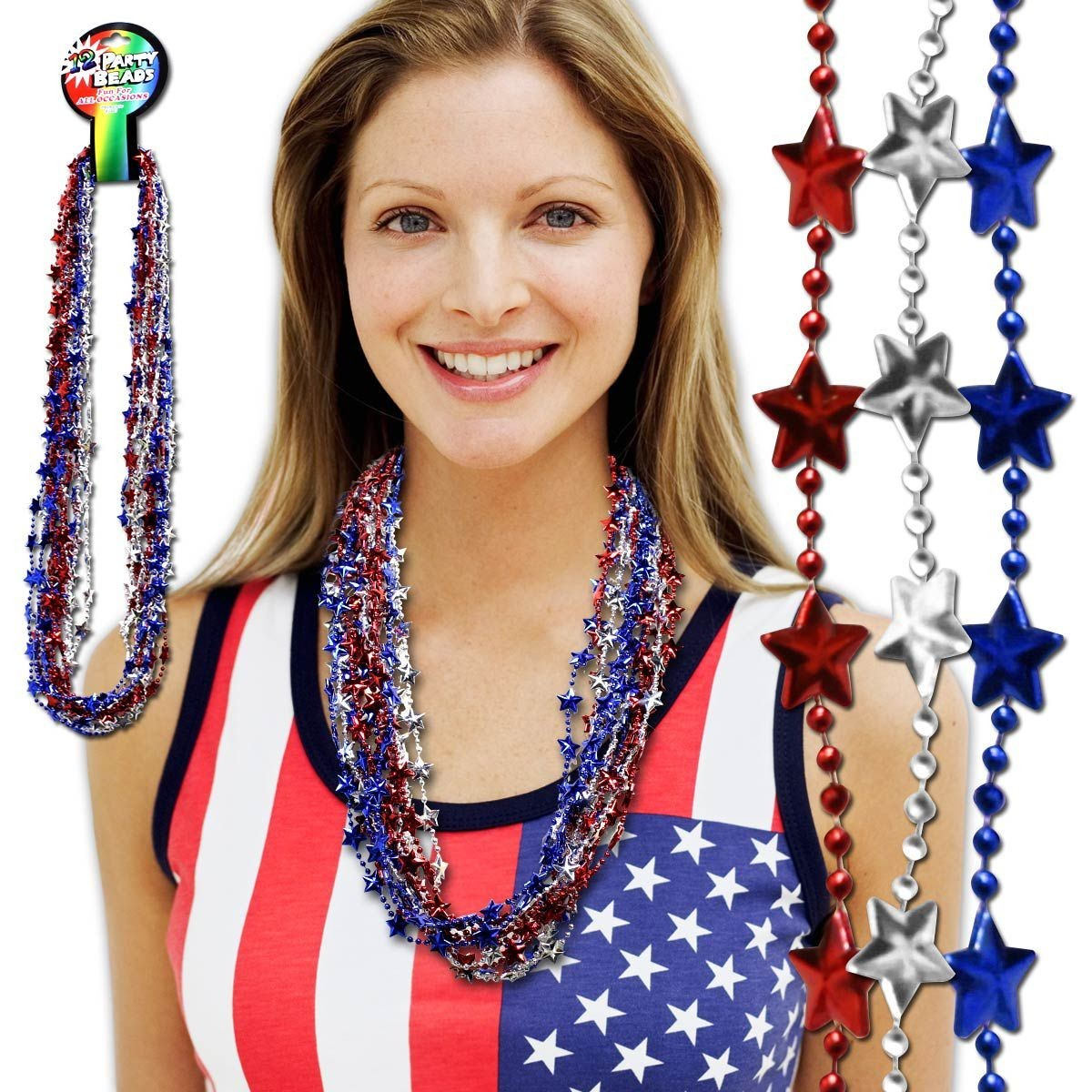 Red, Silver, Blue Star Beads