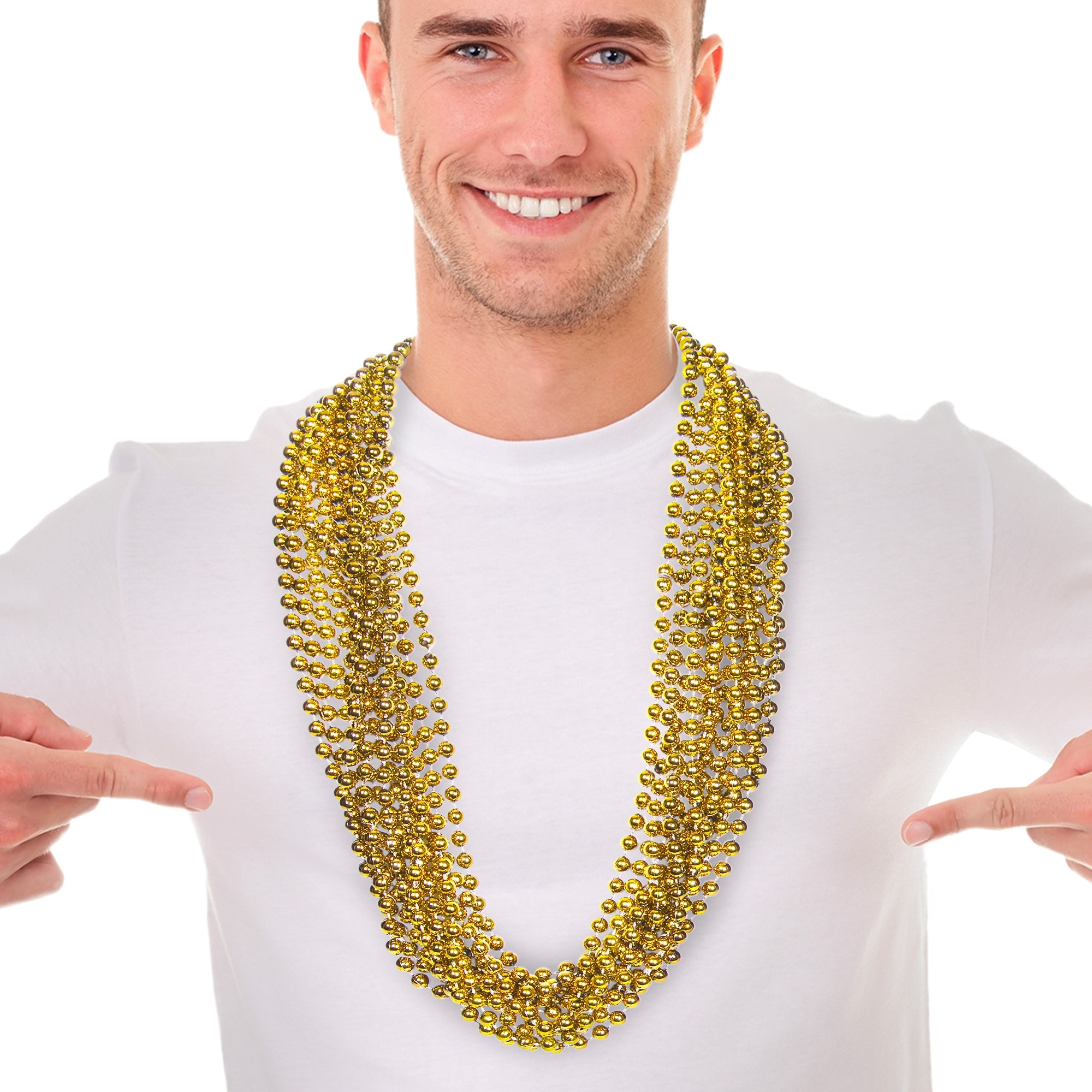 Metallic Gold Mardi Gras Beads