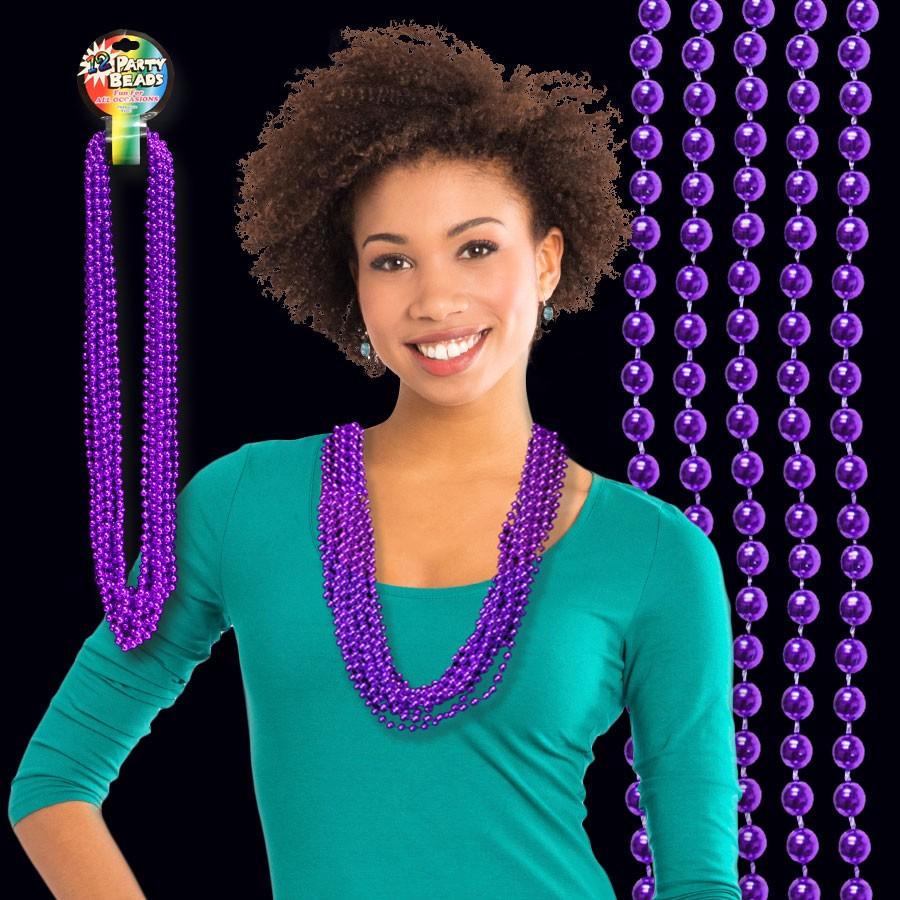 Purple Metallic Bead Necklaces