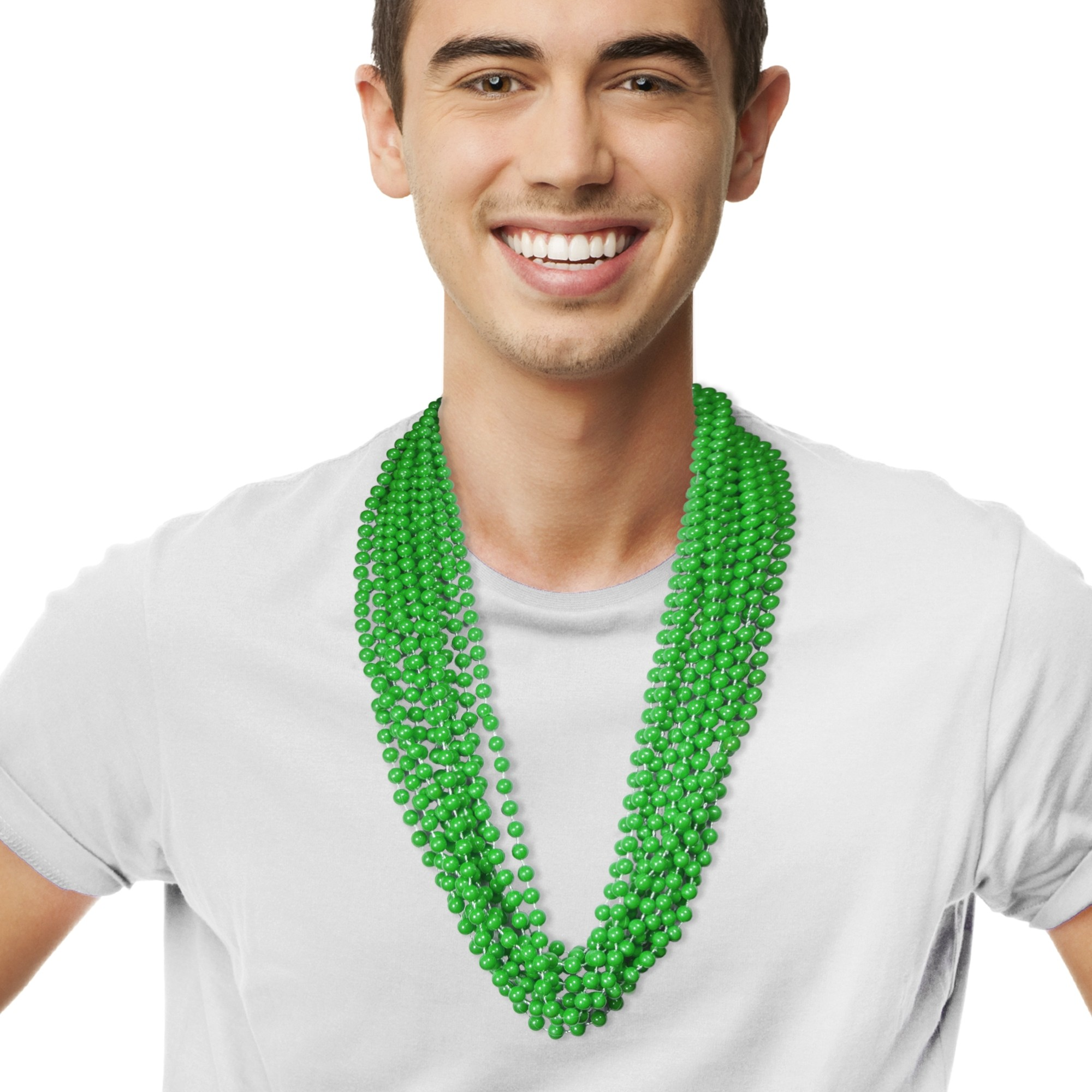 Solid Green Mardi Gras Beads