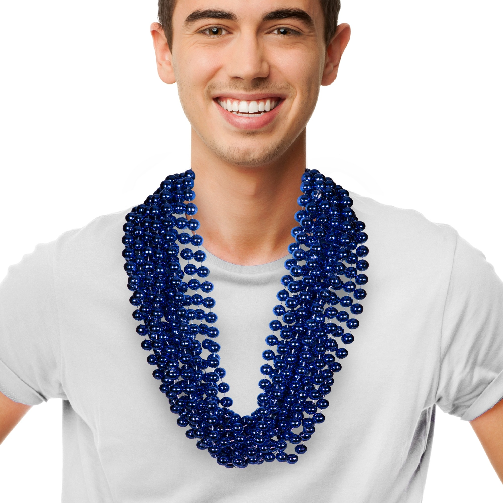 "Blue 33"" 12mm Bead Necklaces"
