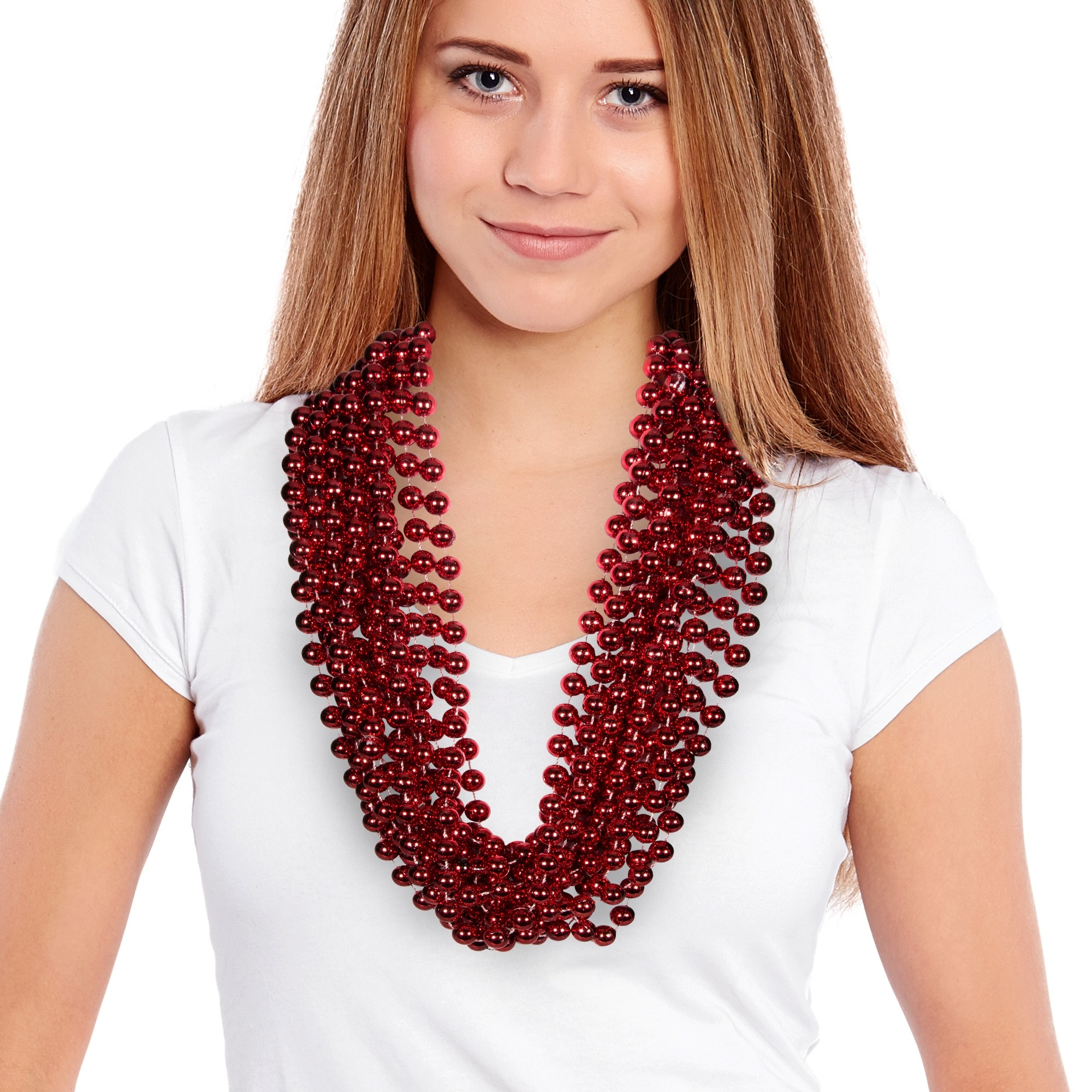 """Red 33"""" 12mm Bead Necklaces"""