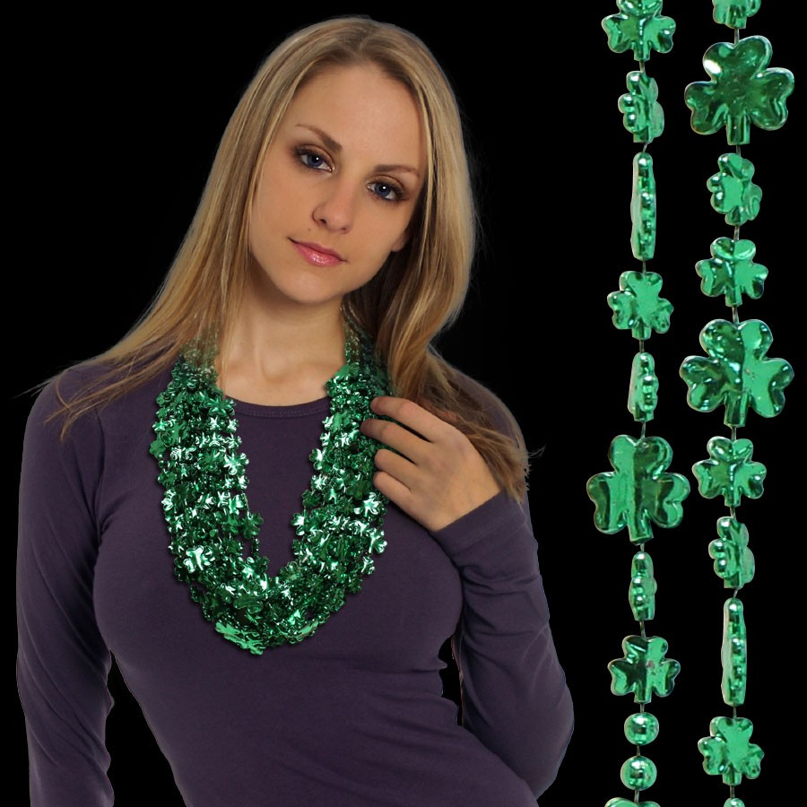 Green Metallic Shamrock Necklace Beads - St. Patrick's Day - Holidays ...