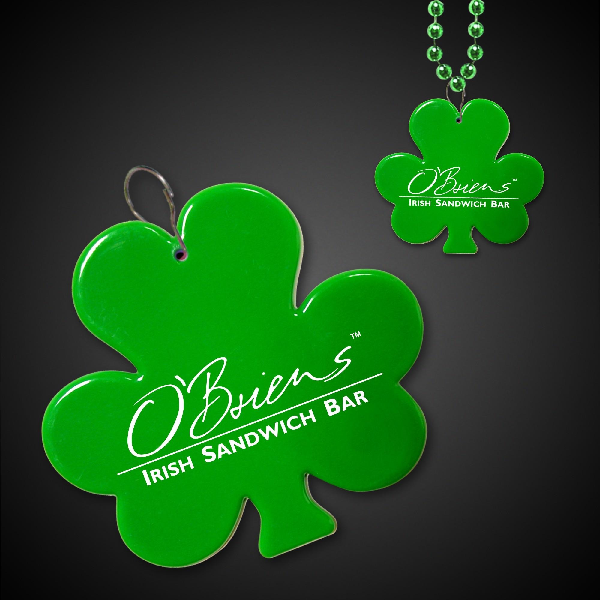 Green Shamrock Plastic Medallion Badges