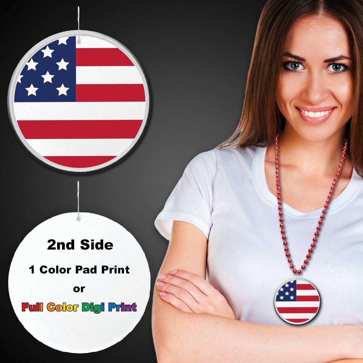 "American Flag Plastic Medallions<br>2 1/2""</br>"