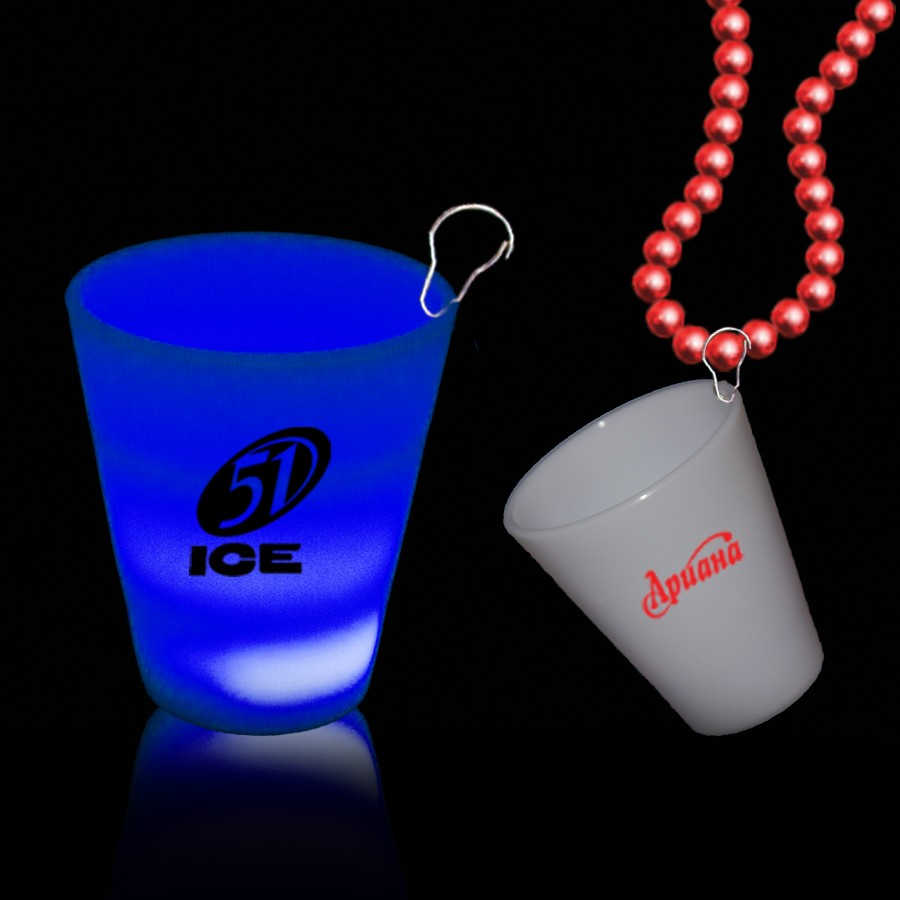 Blue LED 2 oz Shot Glass Medallion