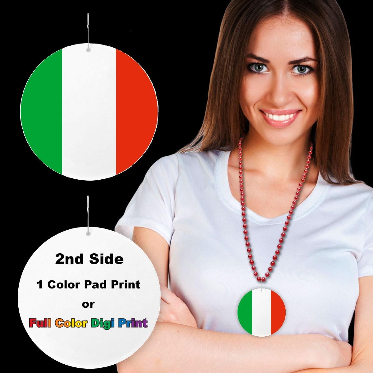 "Italian Flag Plastic Medallions<br>2 1/2""</br>"