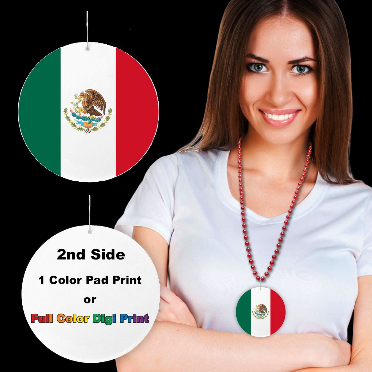 """Mexican Flag Plastic Medallions<br>2 1/2""""</br>"""