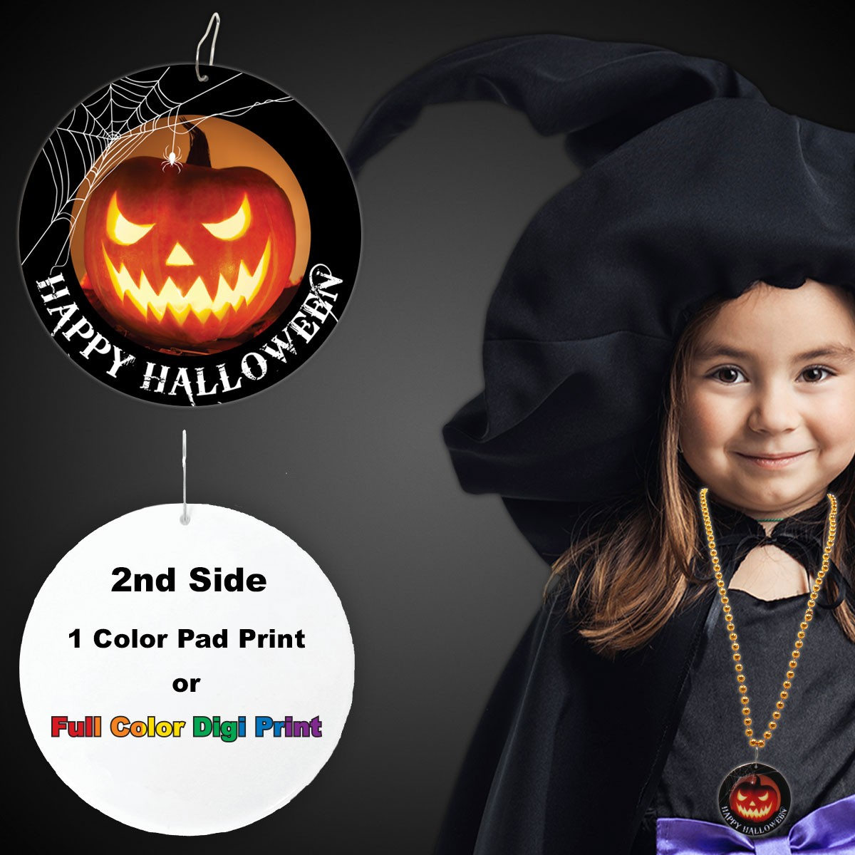 "Halloween Pumpkin Plastic Medallions<br>2 1/2""</br>"
