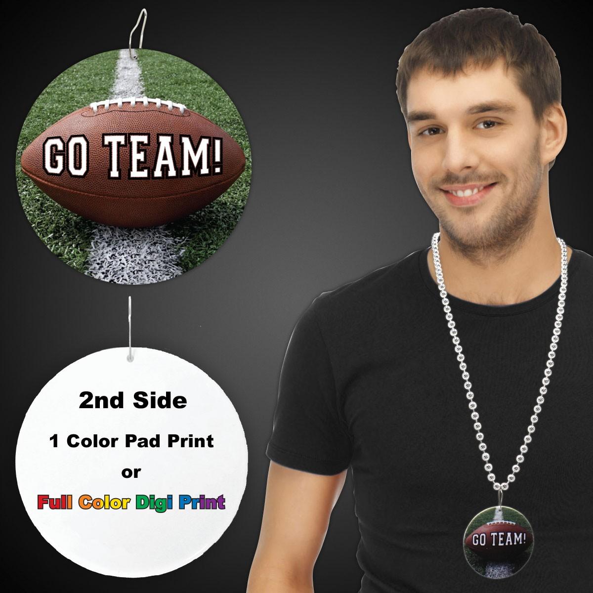 "Football Go Team  Plastic Medallions<br>2 1/2""</br>"