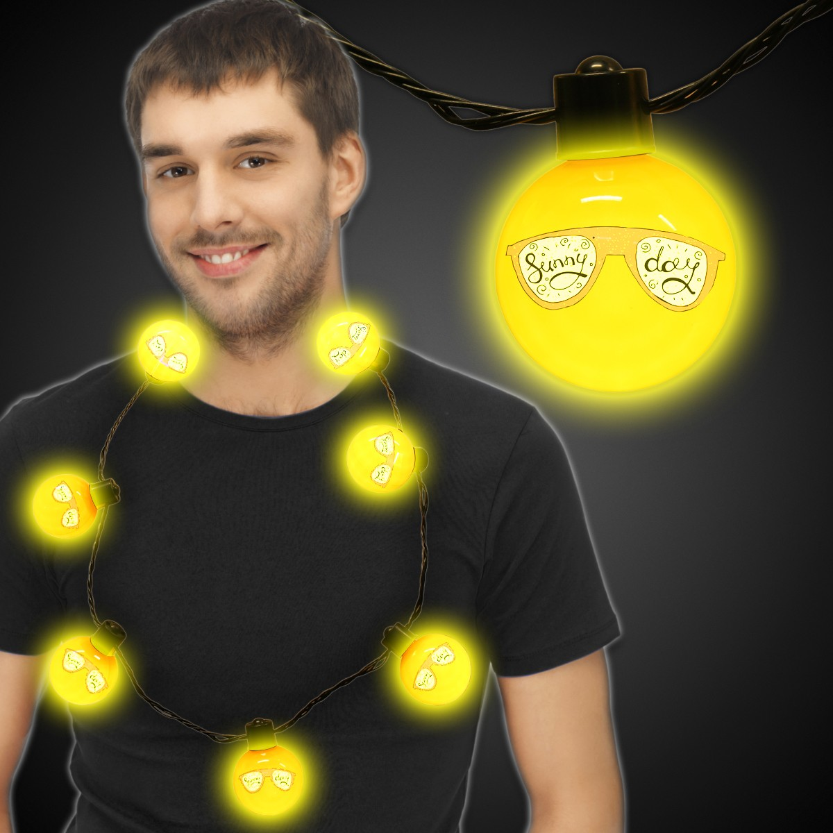 Yellow LED Ball Necklace