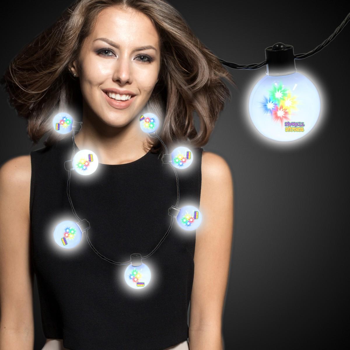 White LED Ball Necklace