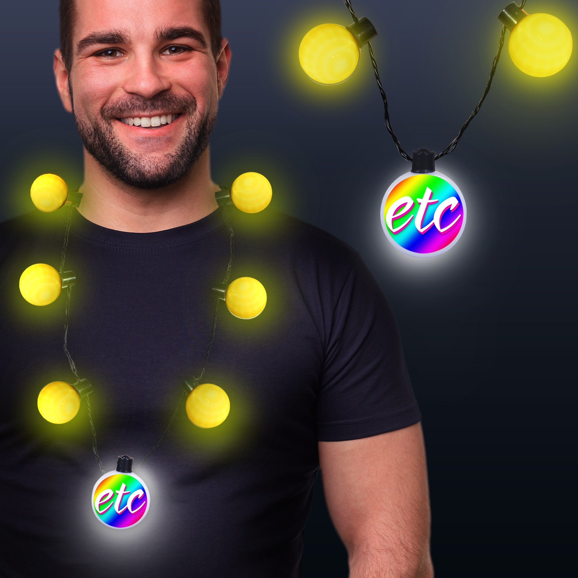 Yellow LED Medallion Ball Necklace