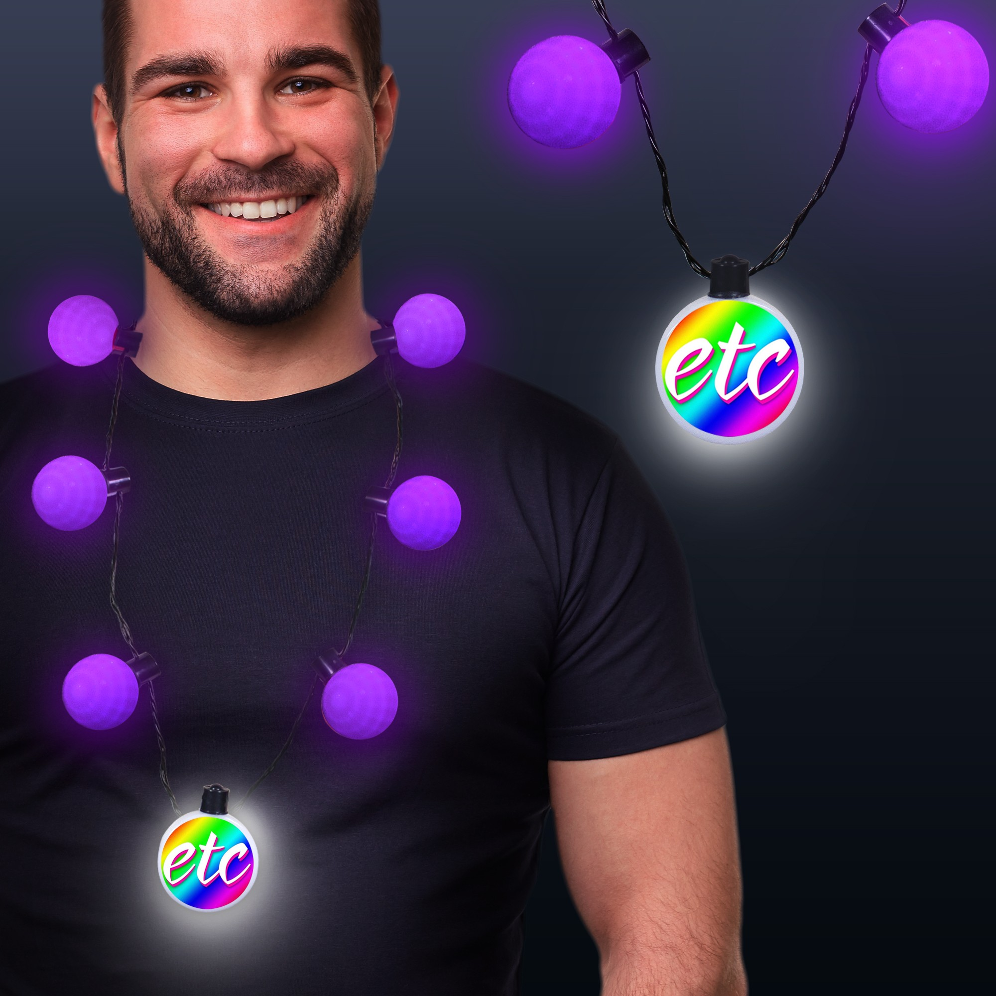 Purple LED Medallion Ball Necklace