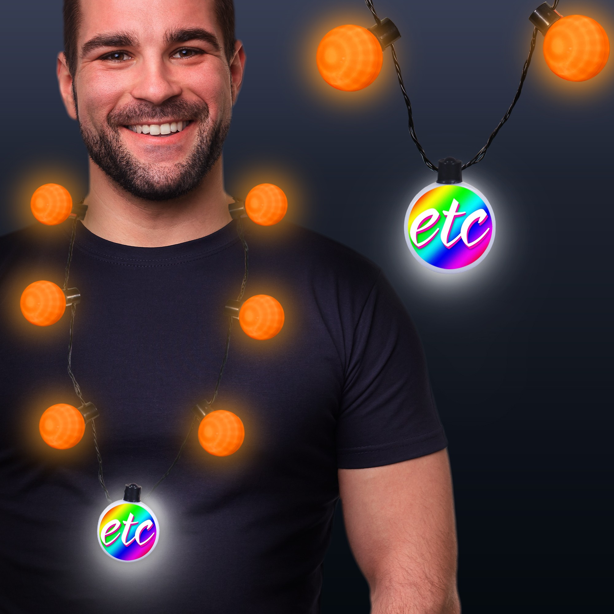 Orange LED Medallion Ball Necklace