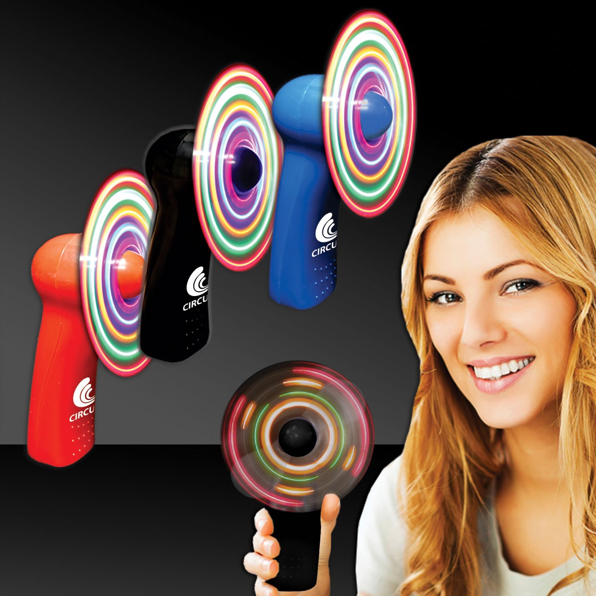 "4"" - Light Up Hand Held Imprintable Fans - Variety of Colors"