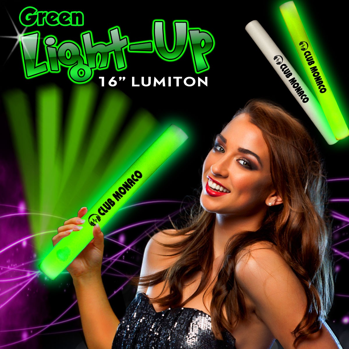 Green LED Foam 16 Inch Lumiton Batons
