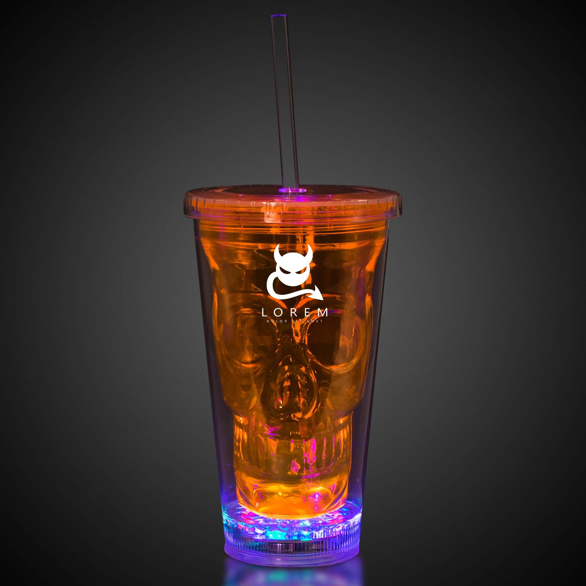 Neon Orange LED Skull Cup