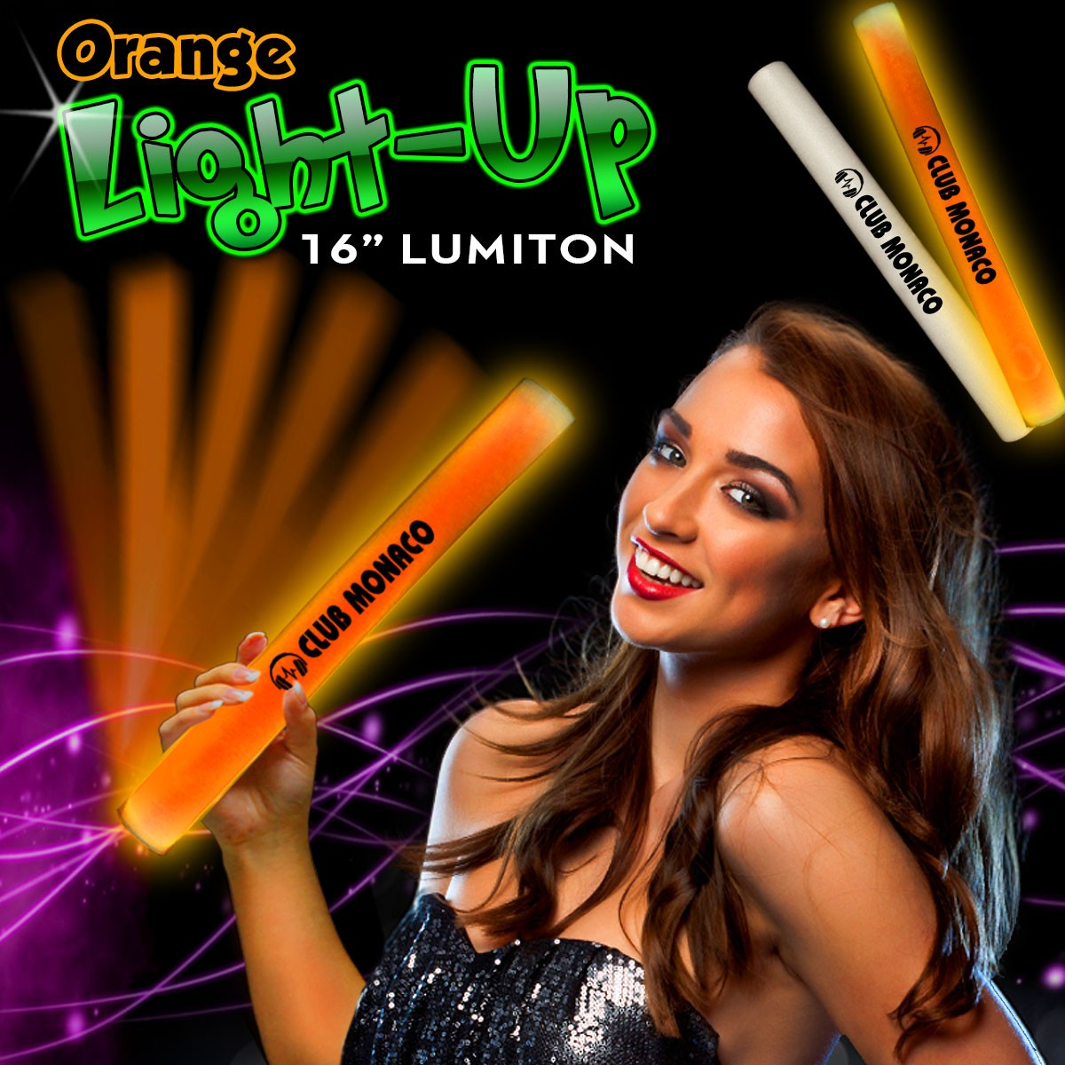 Orange LED 16 Inch Lumiton Batons