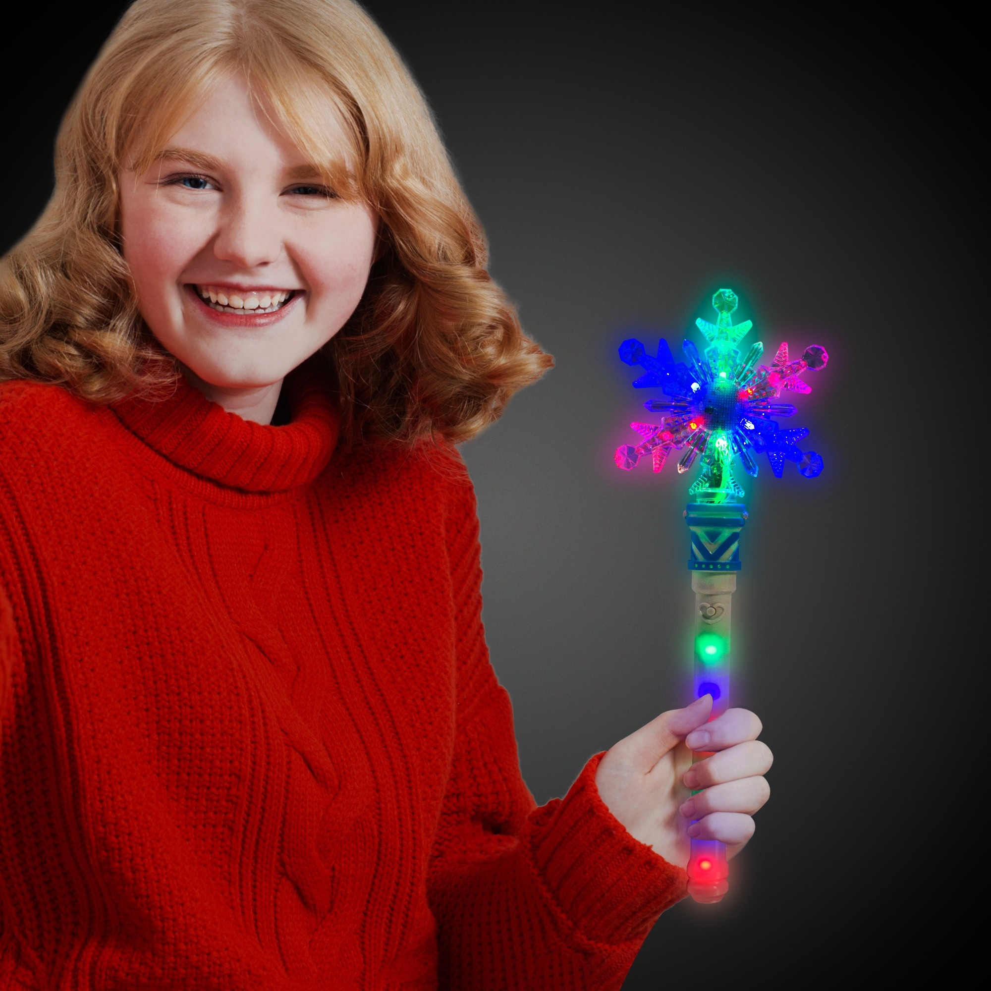 LED Snowflake Wand with Light-Up Handle
