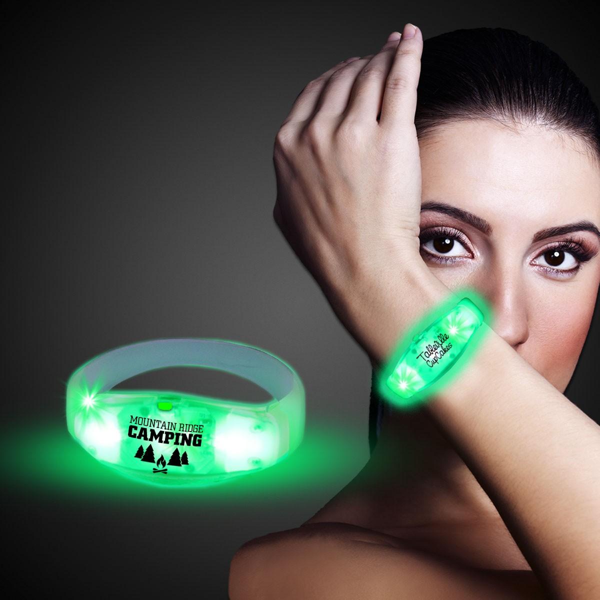 Green LED Stretchy Bangle Bracelets