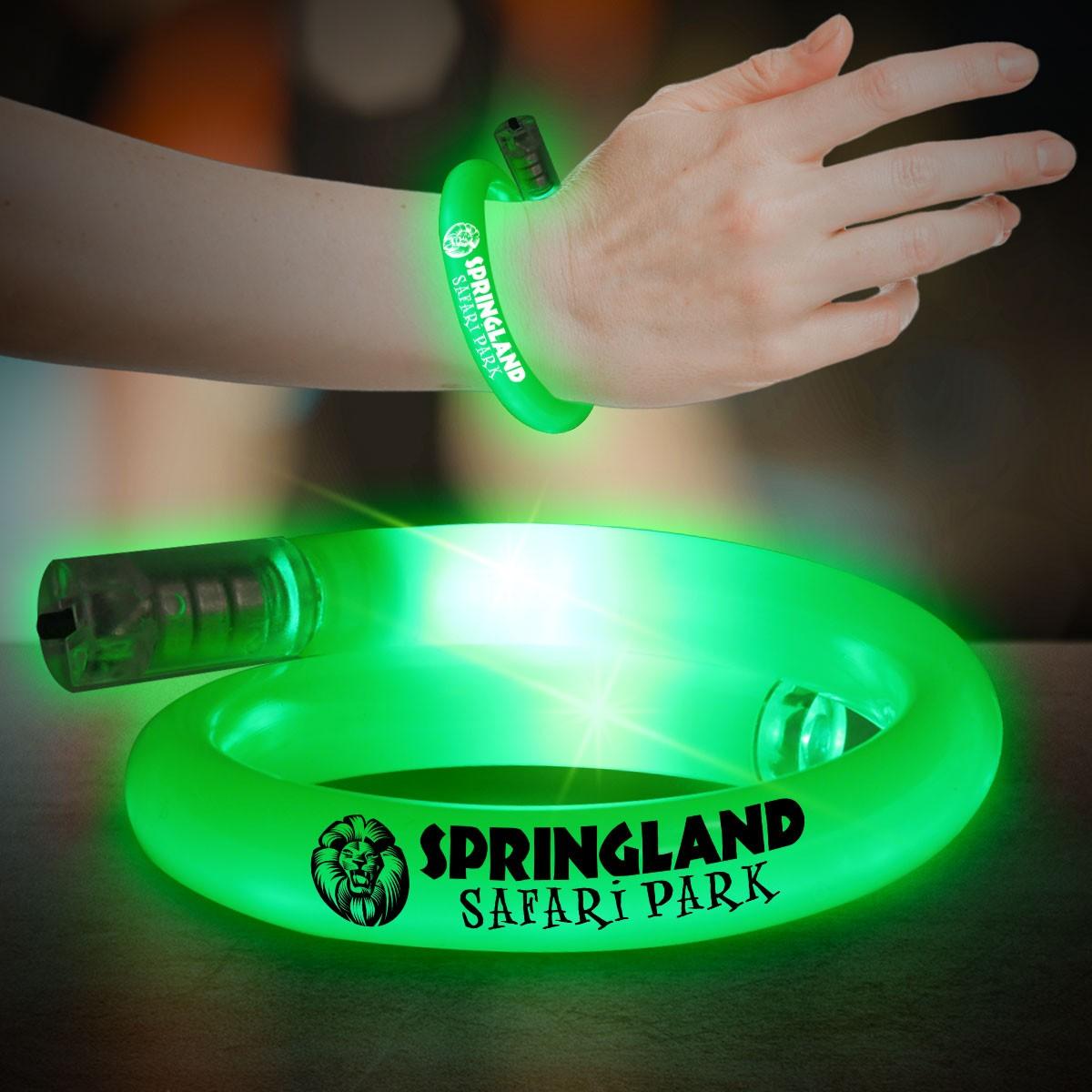 Green Flashing Coil Tube Bracelet