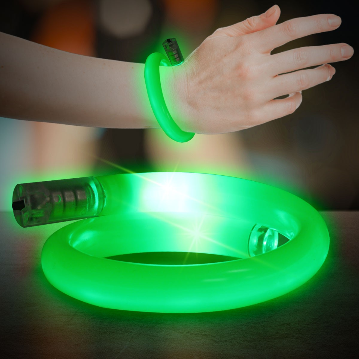 Green Flashing Coil Tube Bracelet - Green - Shop By Color-6979