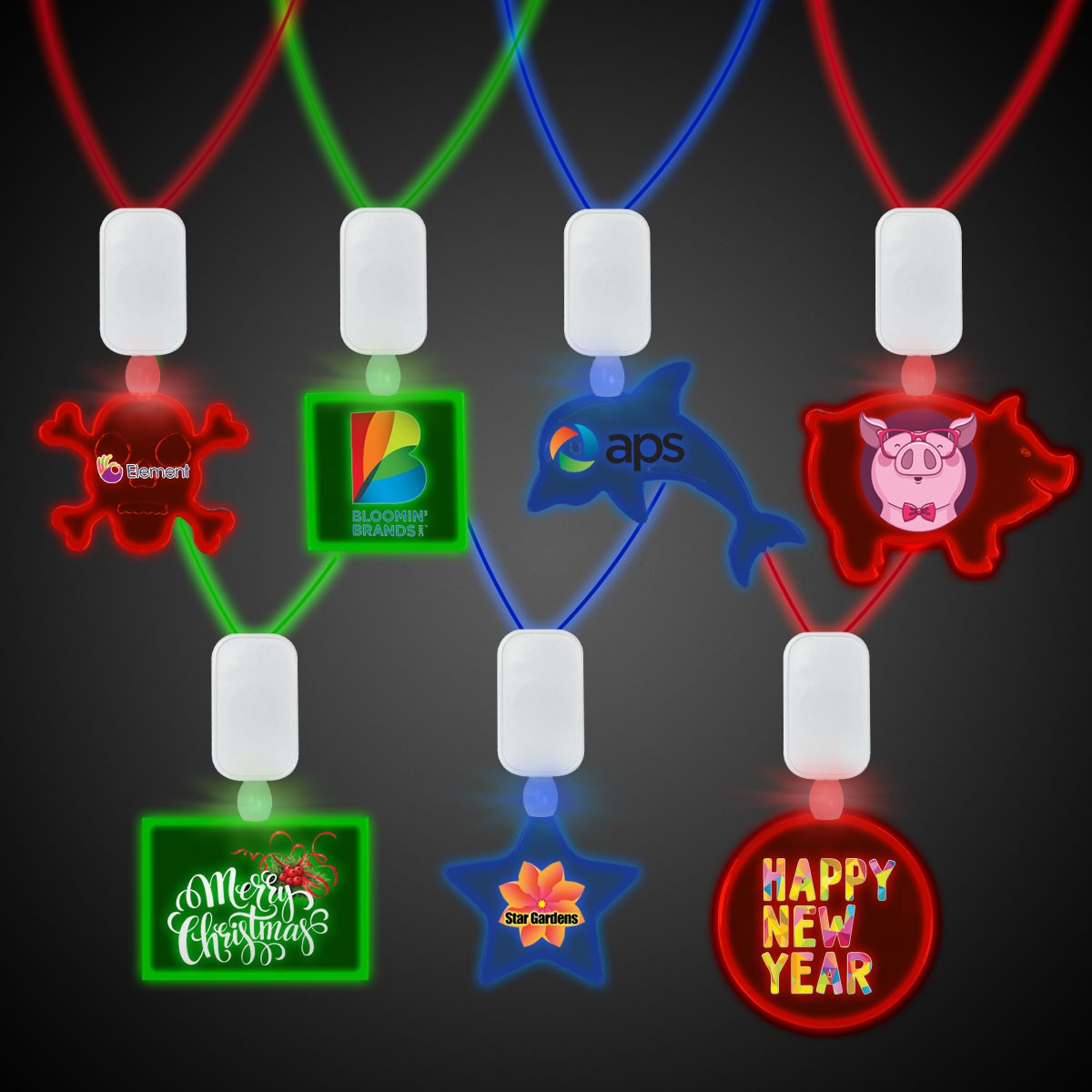 Clear Plastic Necklace with Plastic Medallion -Variety of LED Colors