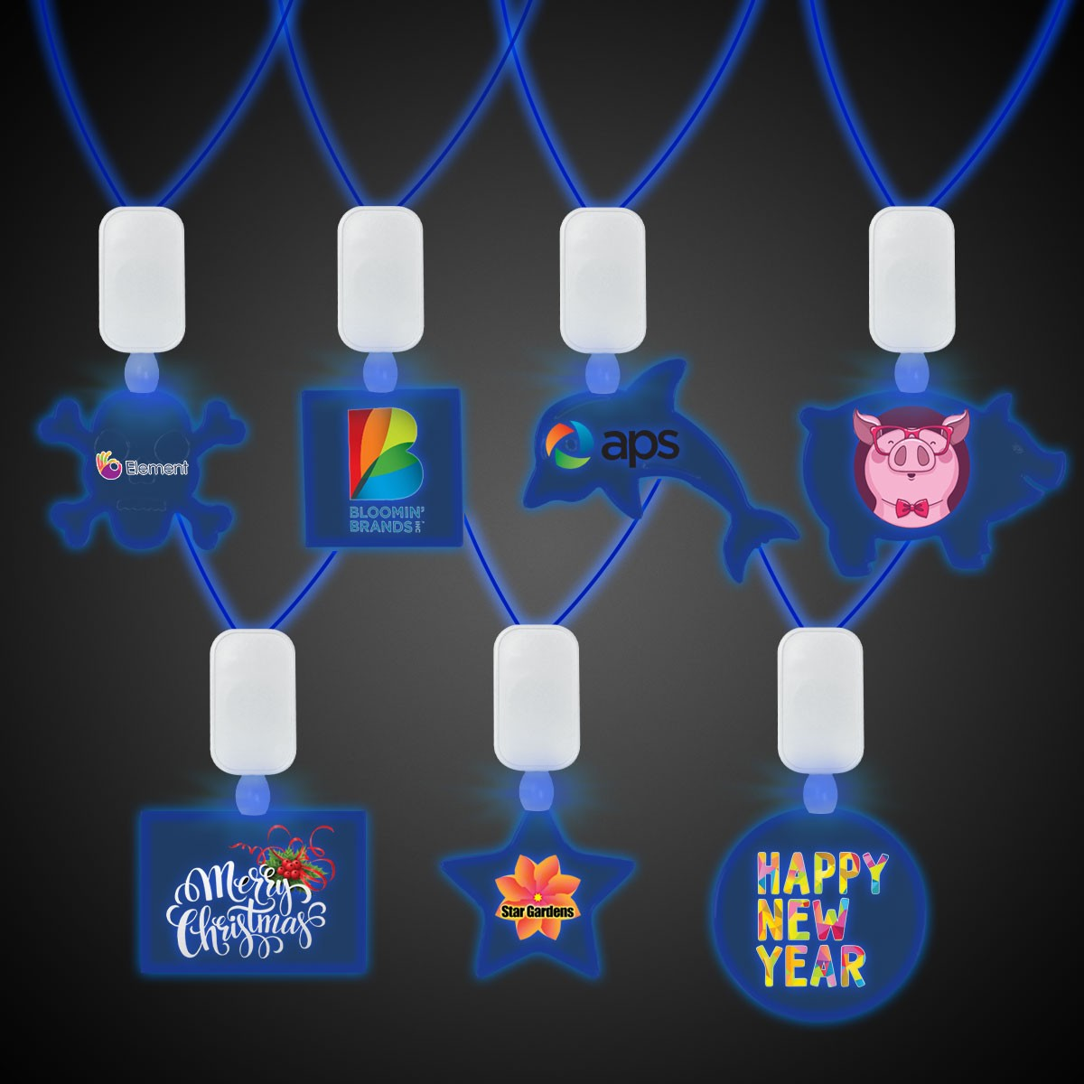 Clear Plastic Necklace with Plastic Medallion and Blue LEDS
