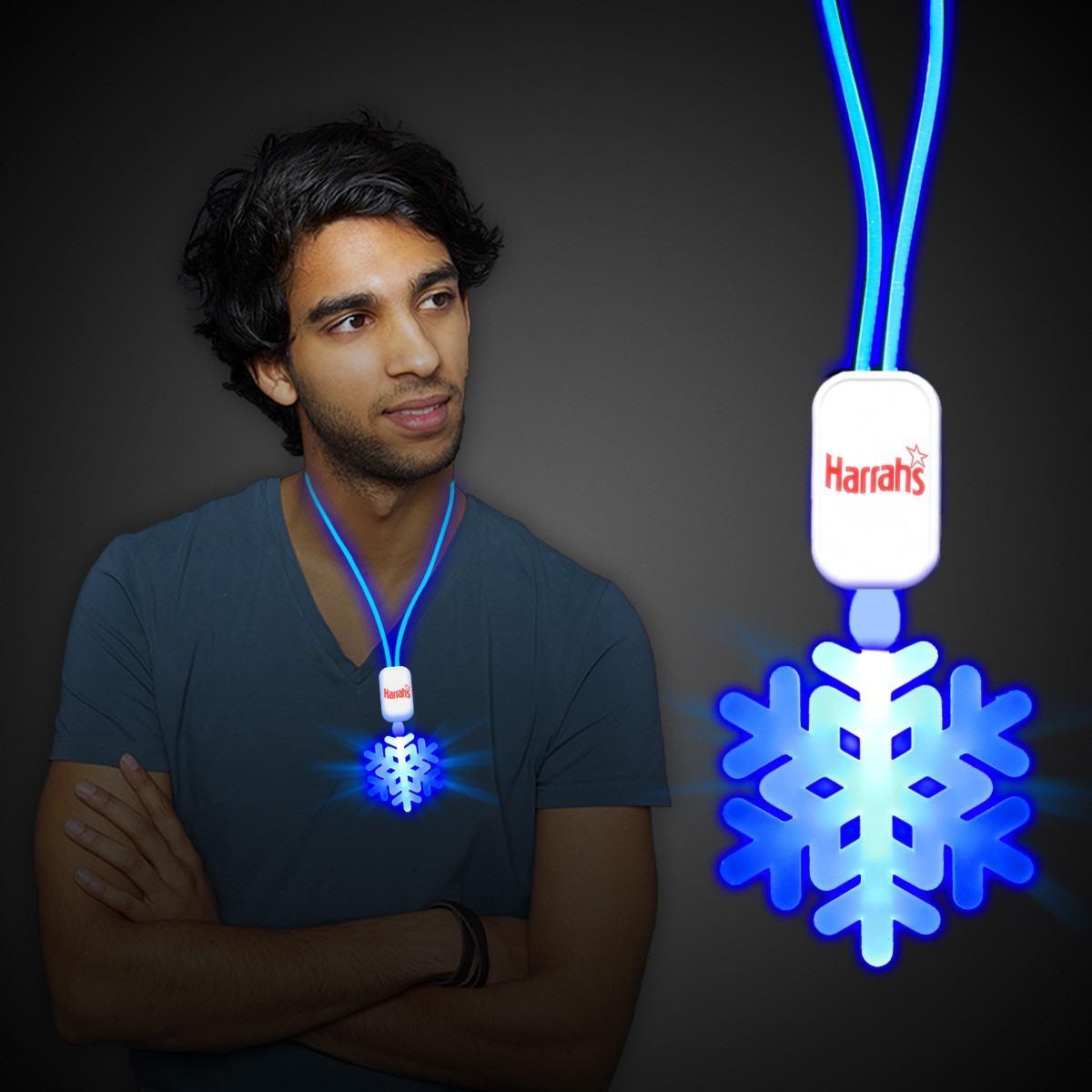 Blue LED Snowflake Necklace with Extra Large Pendant