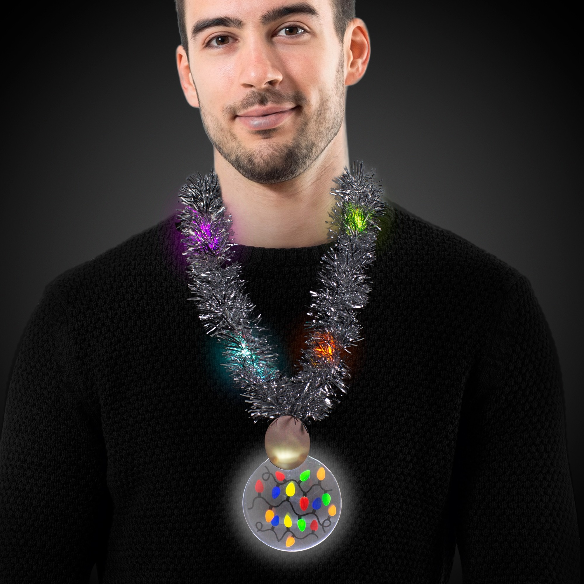 LED Christmas Medallion Tinsel Necklace