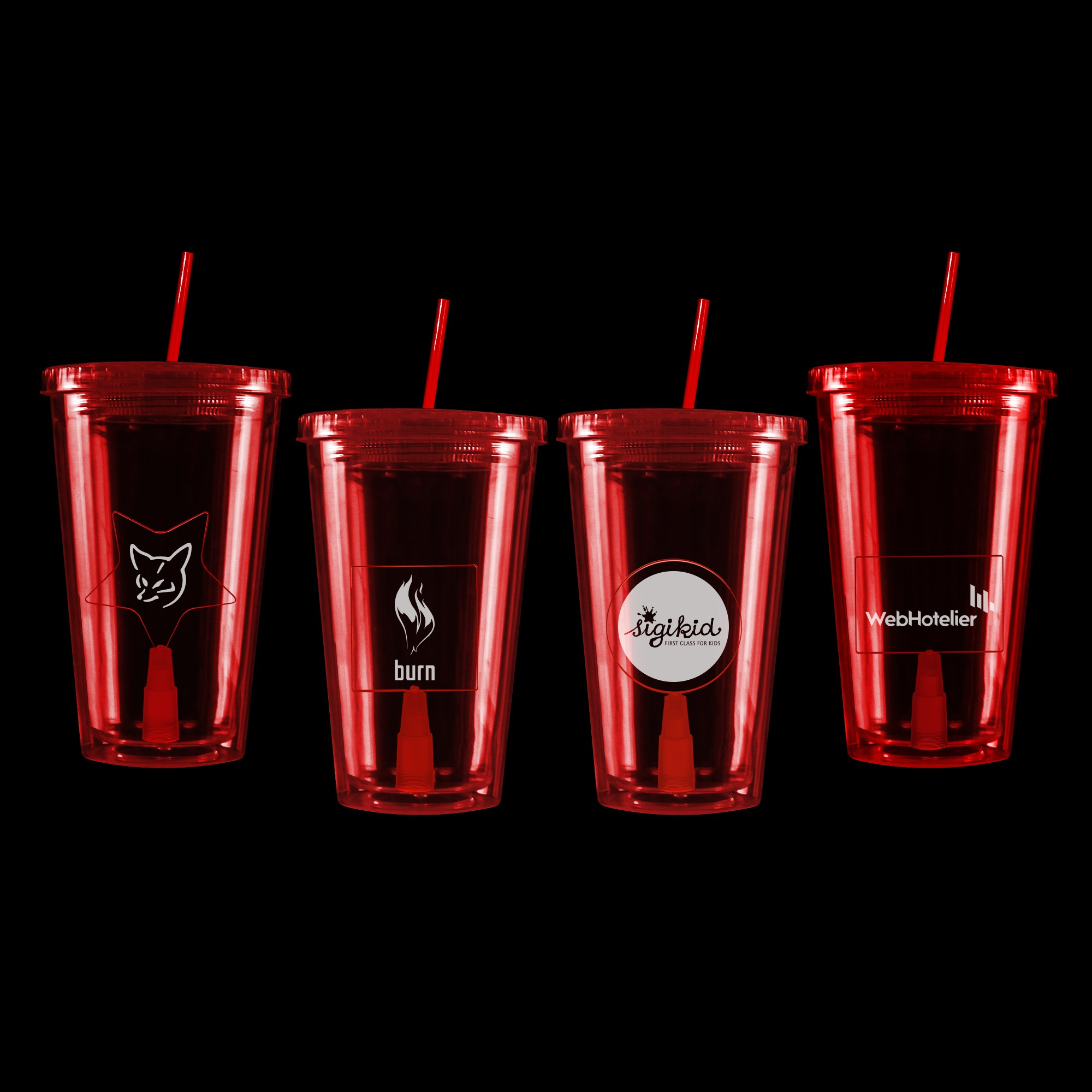 Red Light Up Travel Cup with Insert