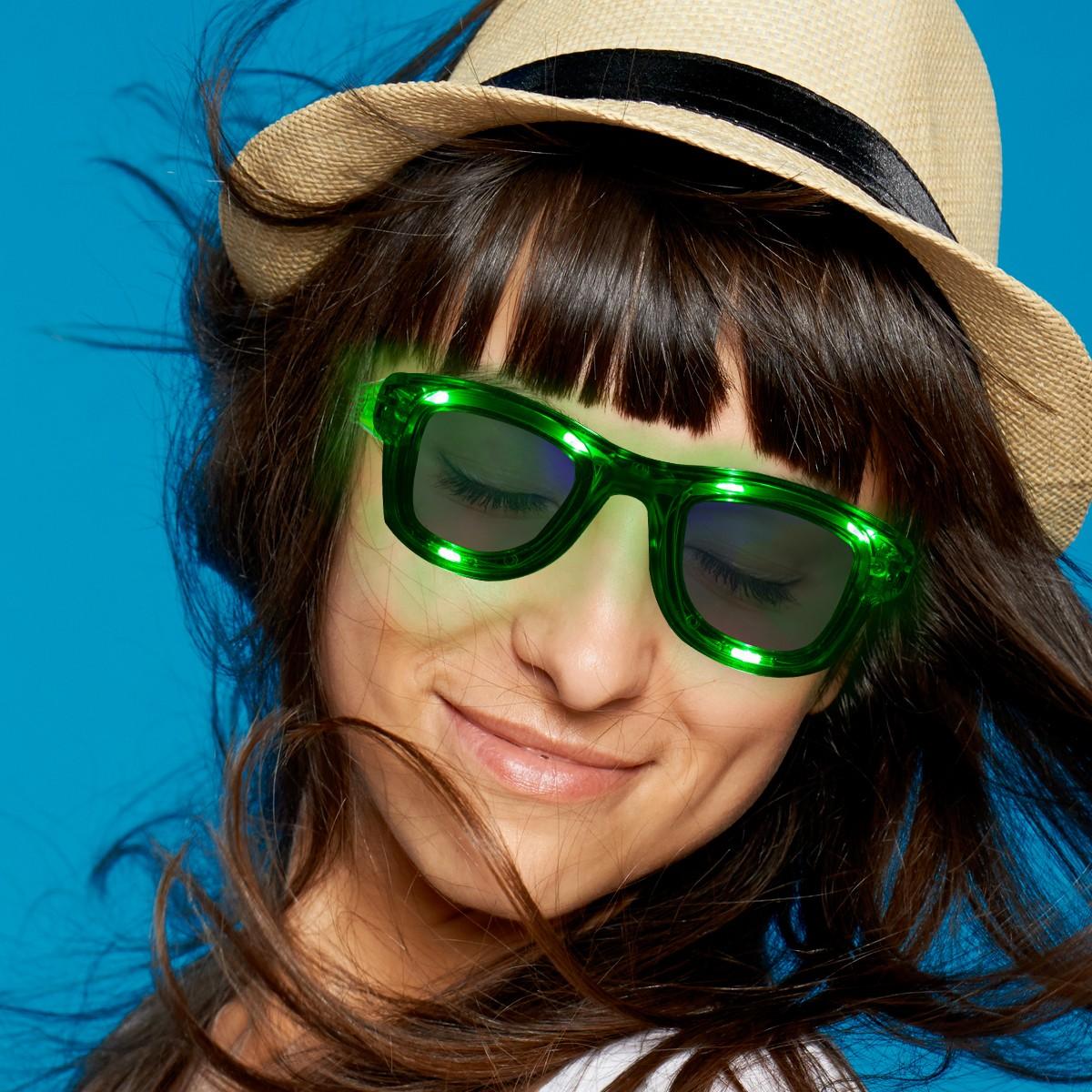 Green LED Classic Retro Sunglasses with Sound Option