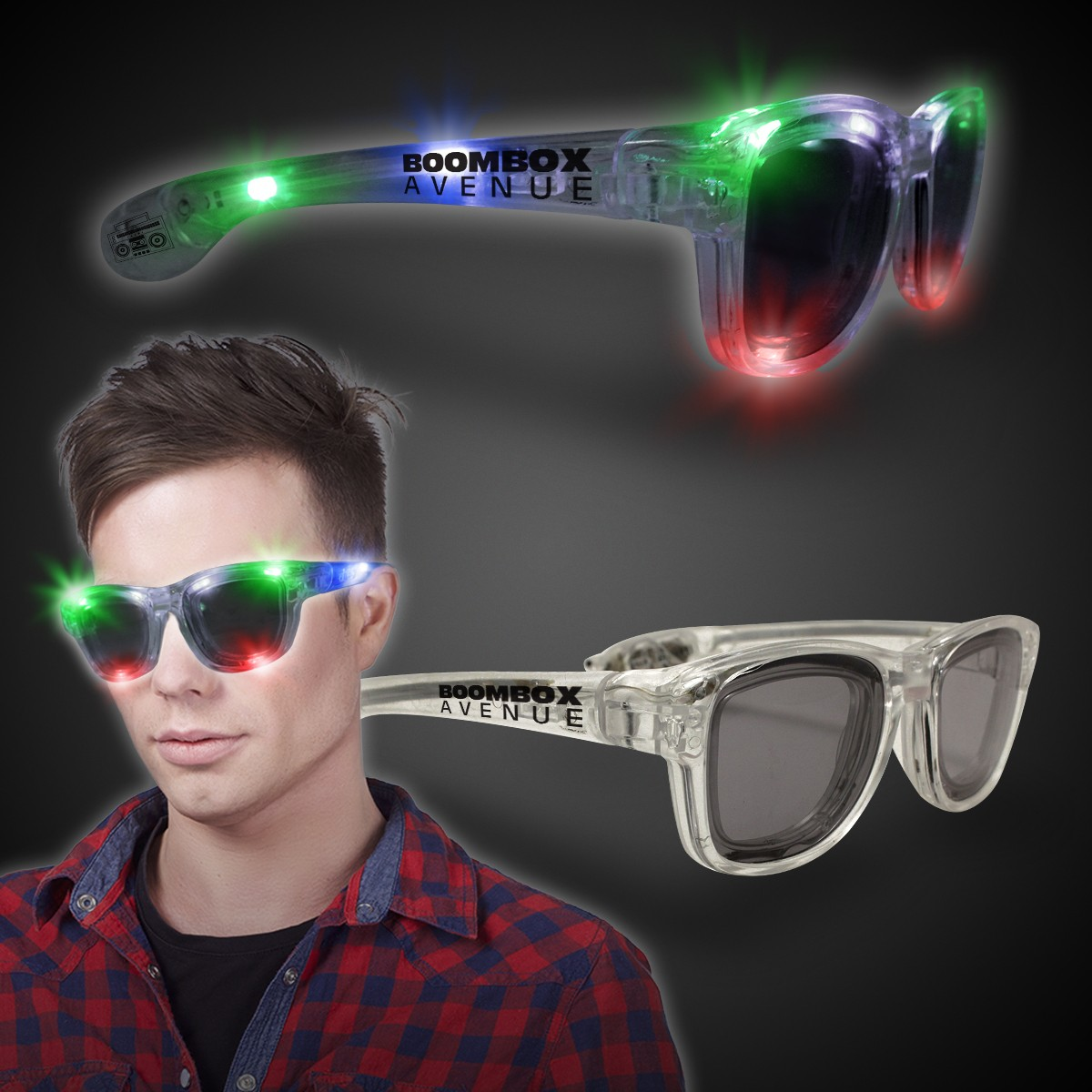 Multi Color LED Classic Retro Sunglasses with Sound Option