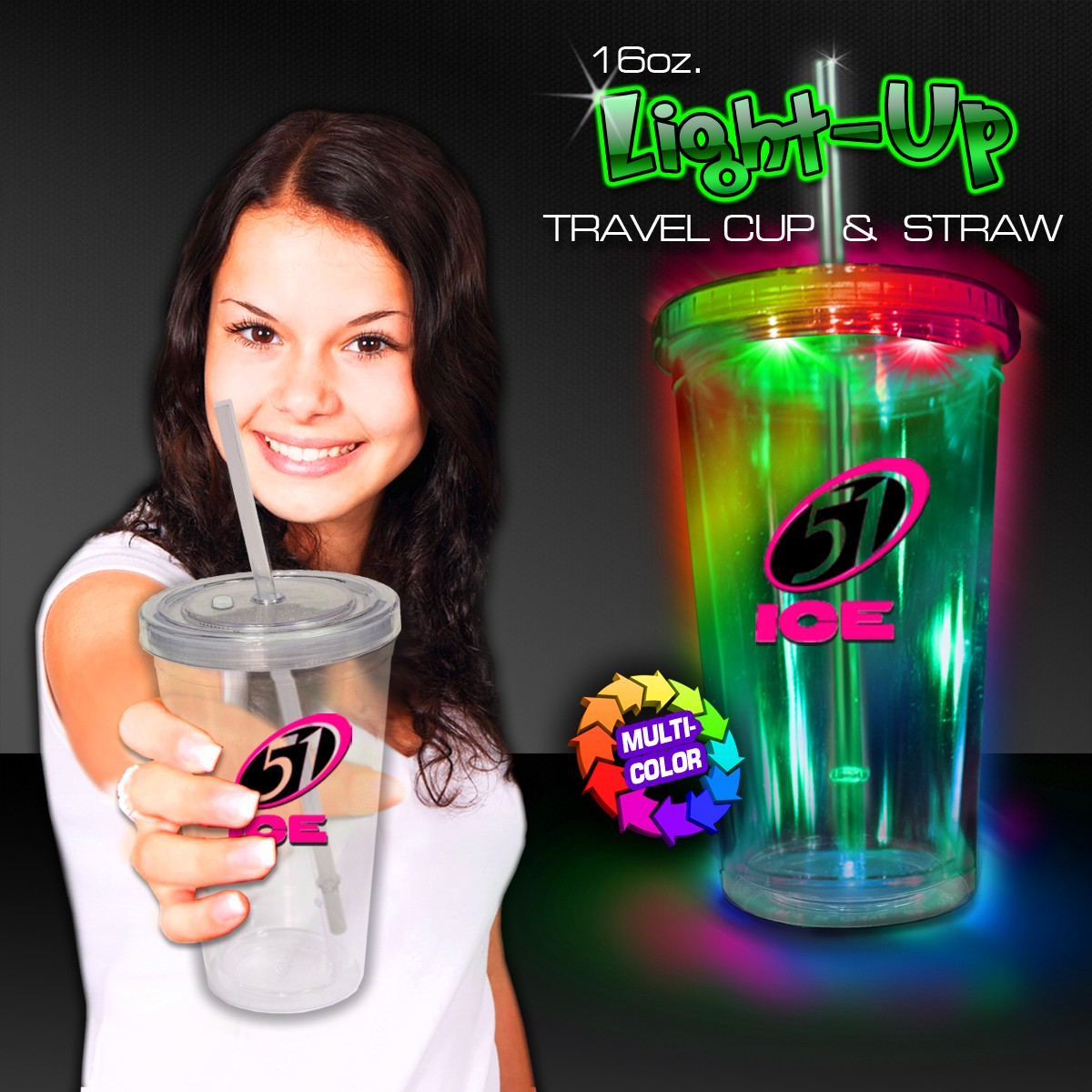 Multicolor Light Up Travel Cup with CLEAR Lid and Straw