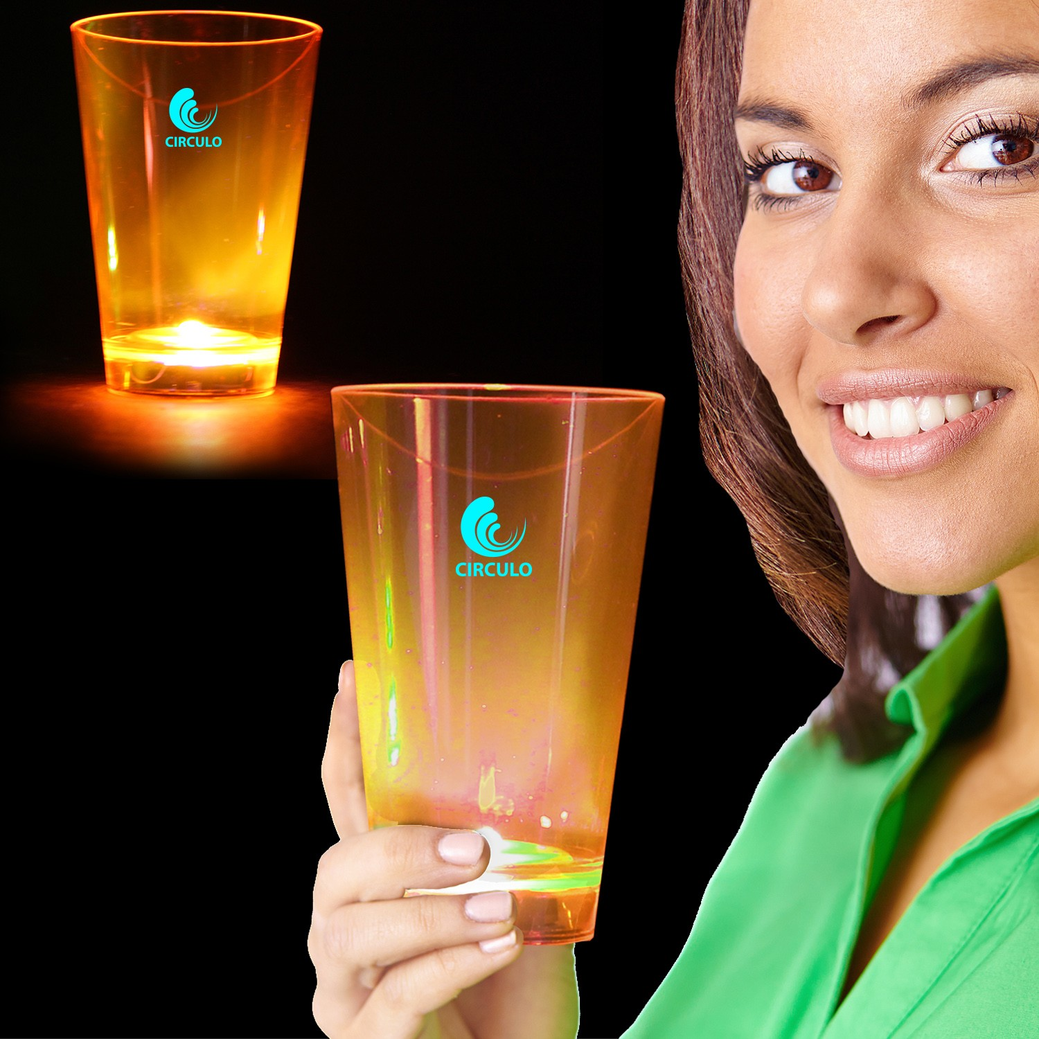 Orange Neon Plastic LED Tumblers - 12 Ounce