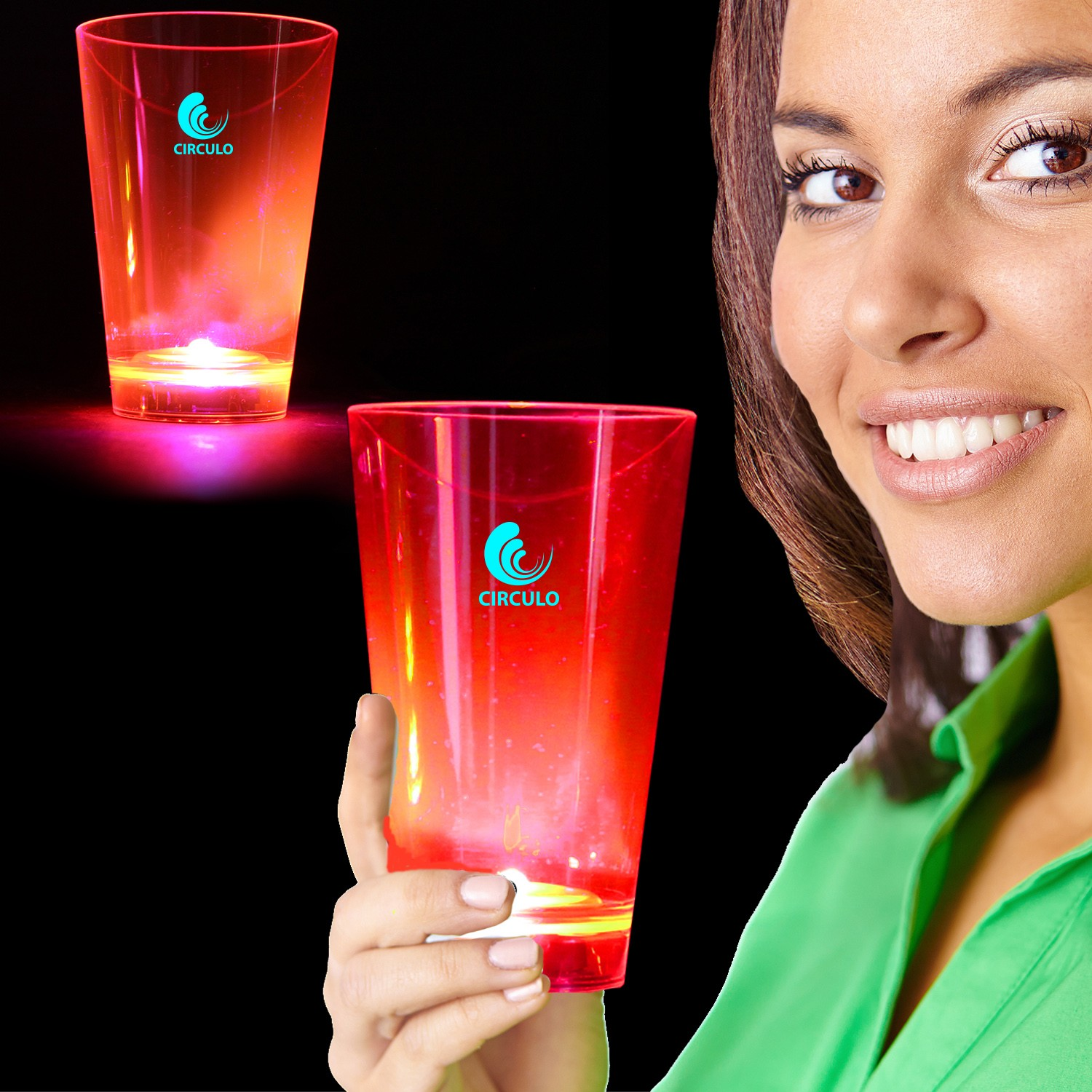 Pink Neon Plastic LED Tumblers - 12 Ounce