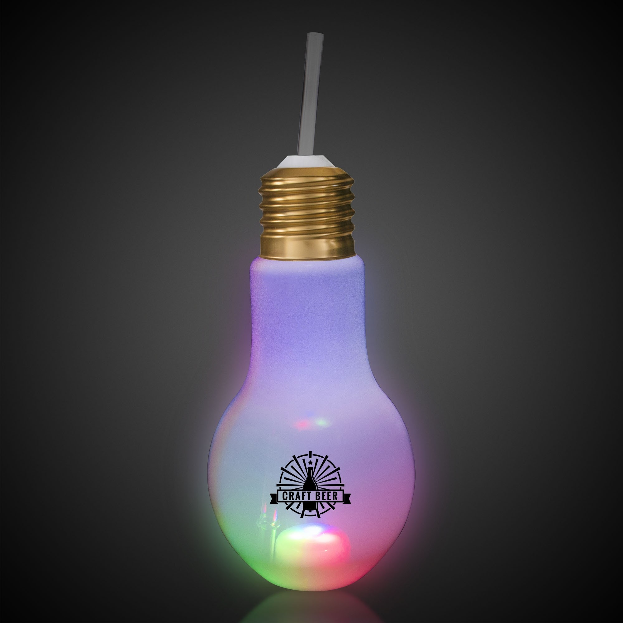 16oz Led Light Bulb Cup With Straw Bar Supplies Drinkware