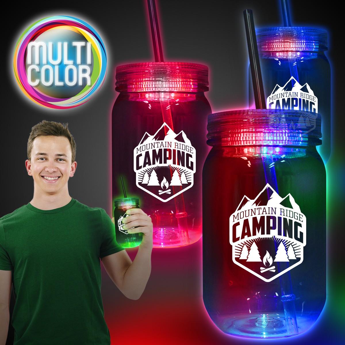 Multi Color LED 20oz Mason Jar with Straw