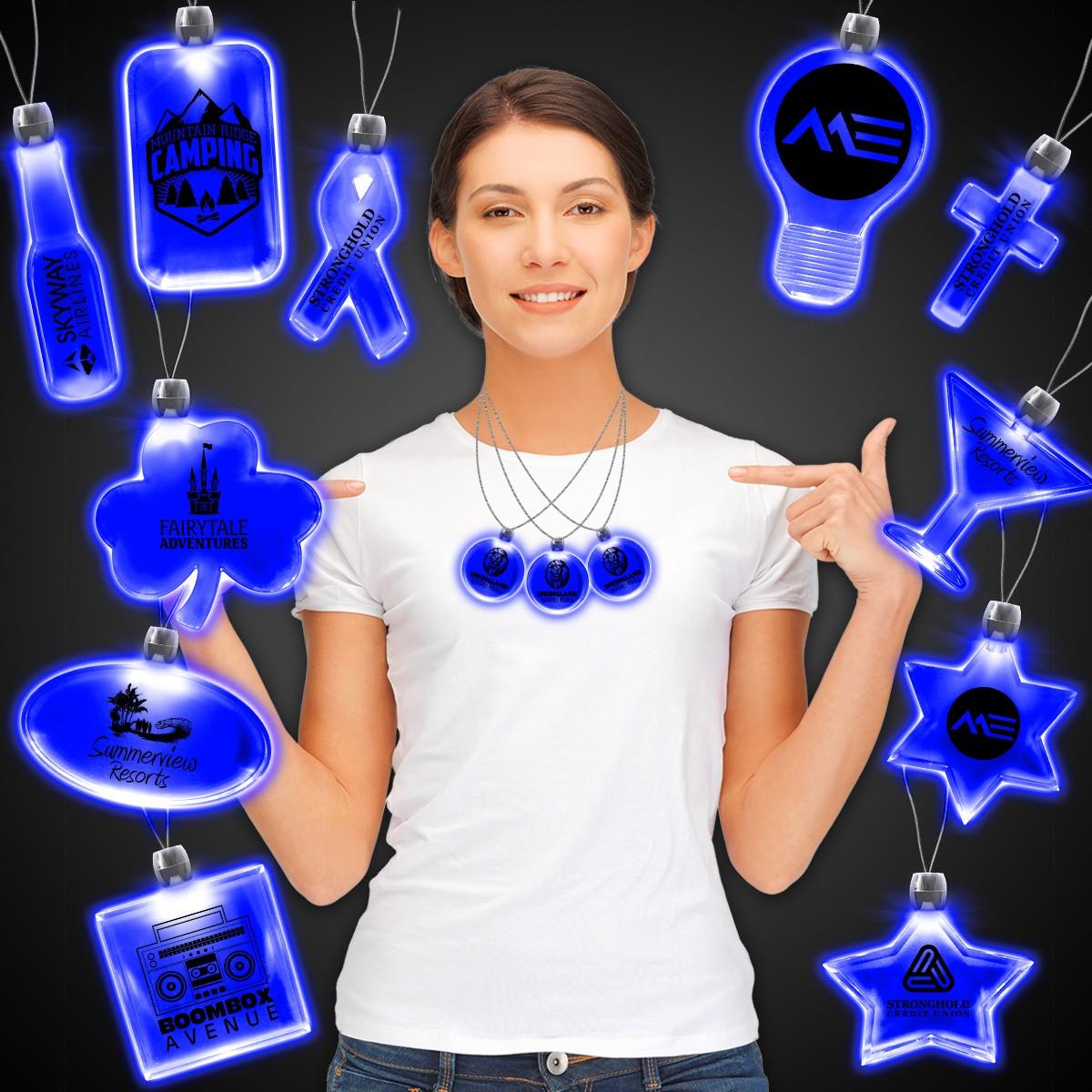 Blue Light Up Pendant Necklaces