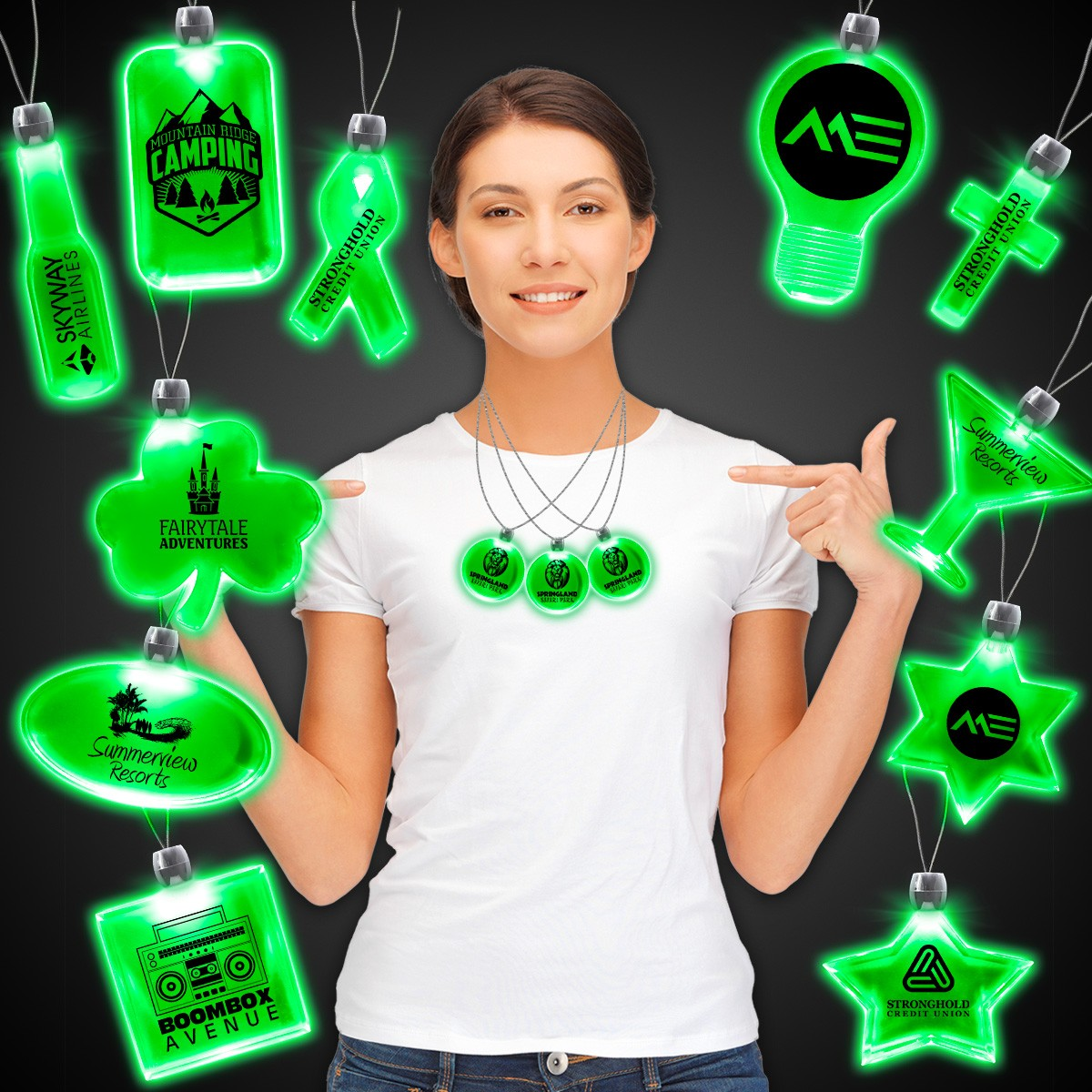 Green Light Up Pendant Necklaces