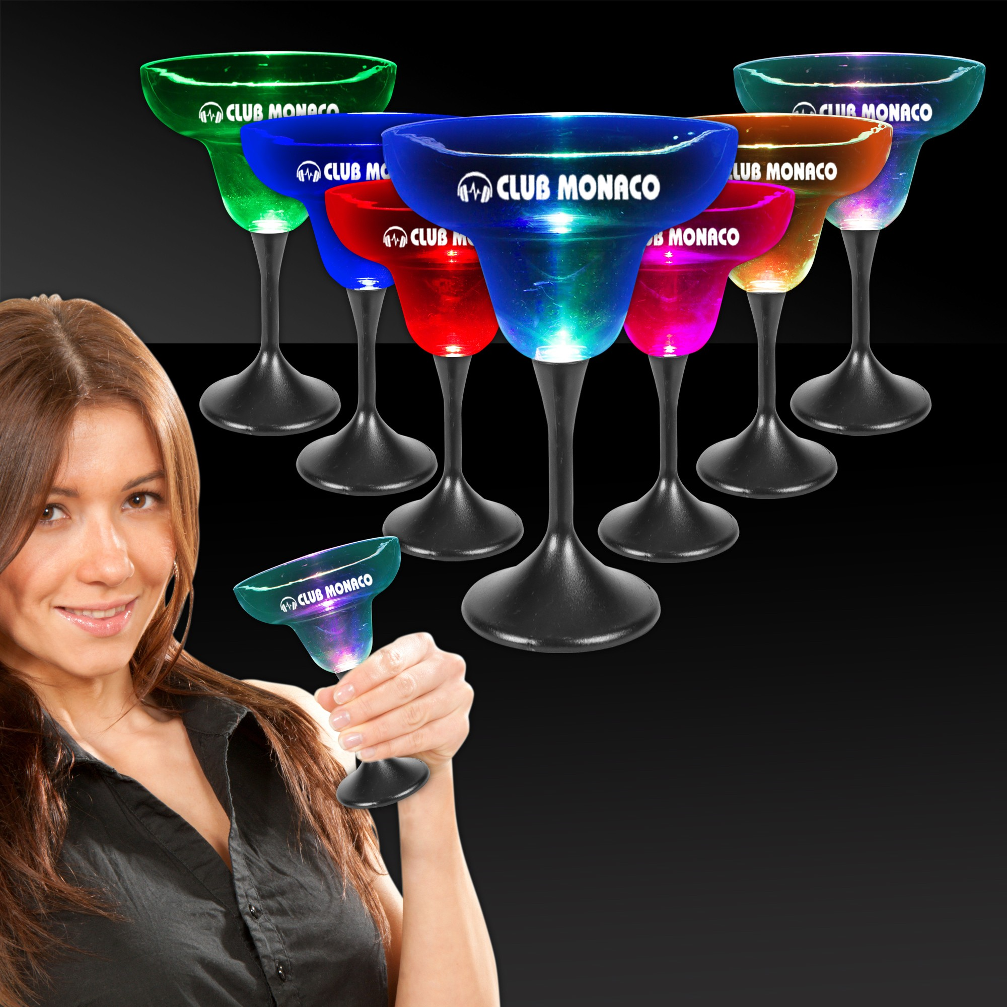 LED Margarita w/ Black Stem & Clear Top