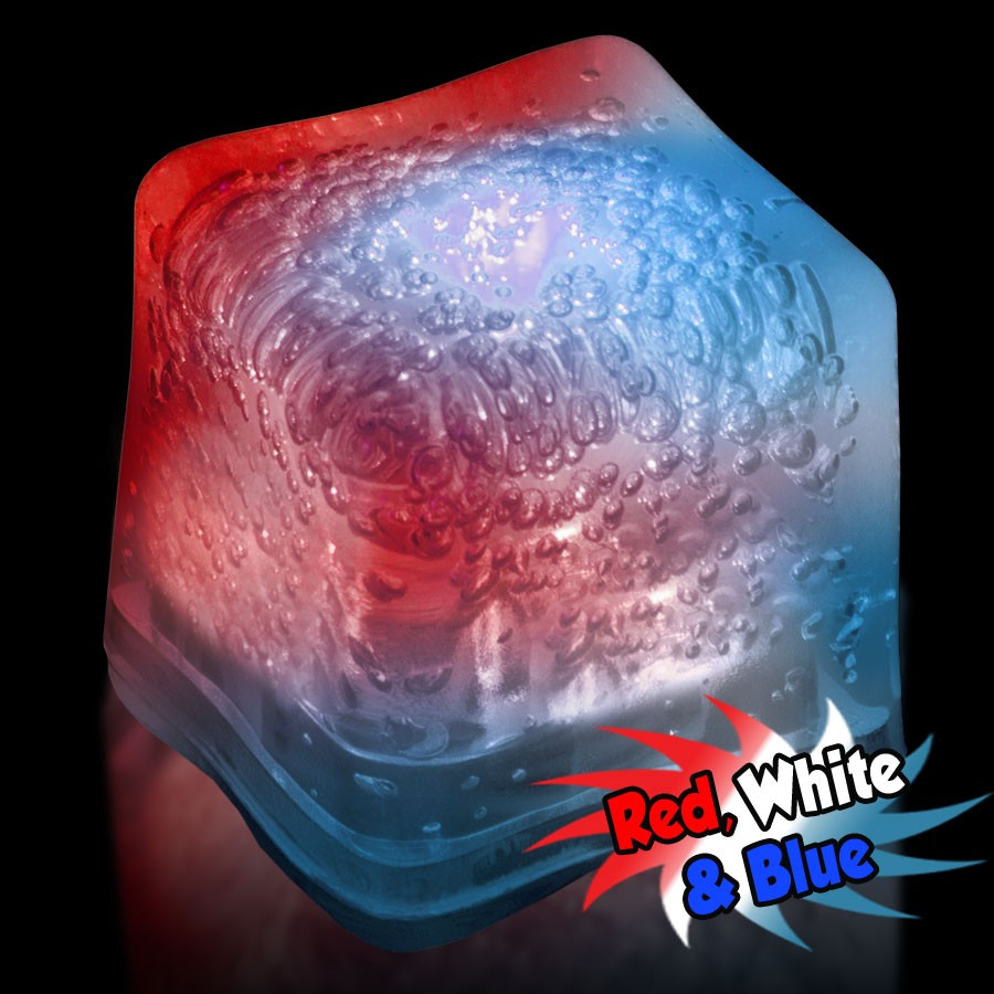 Blank RED-WHITE-BLUE Lited Ice Cubes