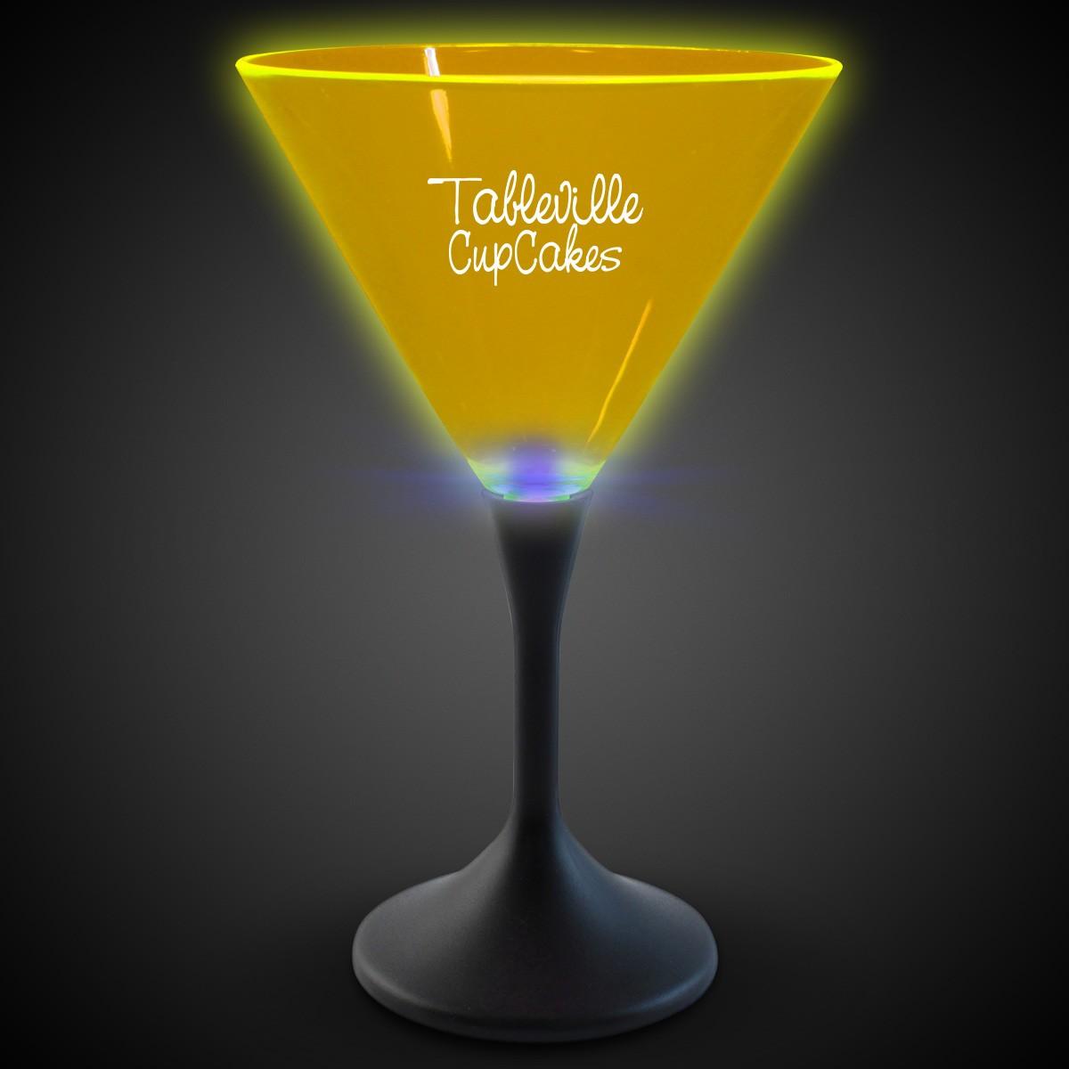 Yellow Neon LED Martini Glasses