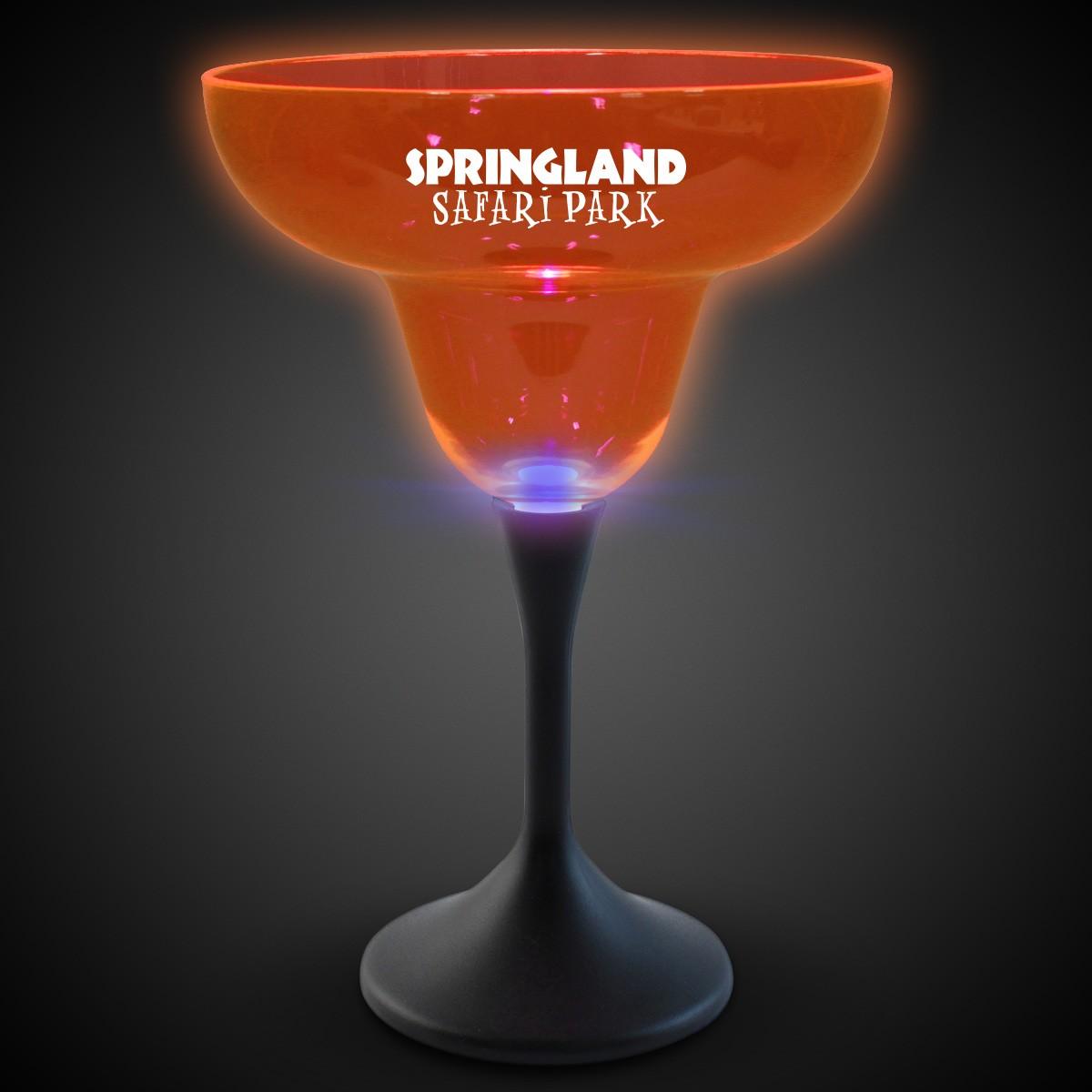 Orange Neon LED Margarita Glasses