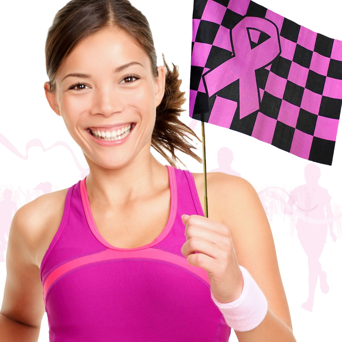 "Pink Ribbon Checkered Flag <br>12""x 18""</br>"