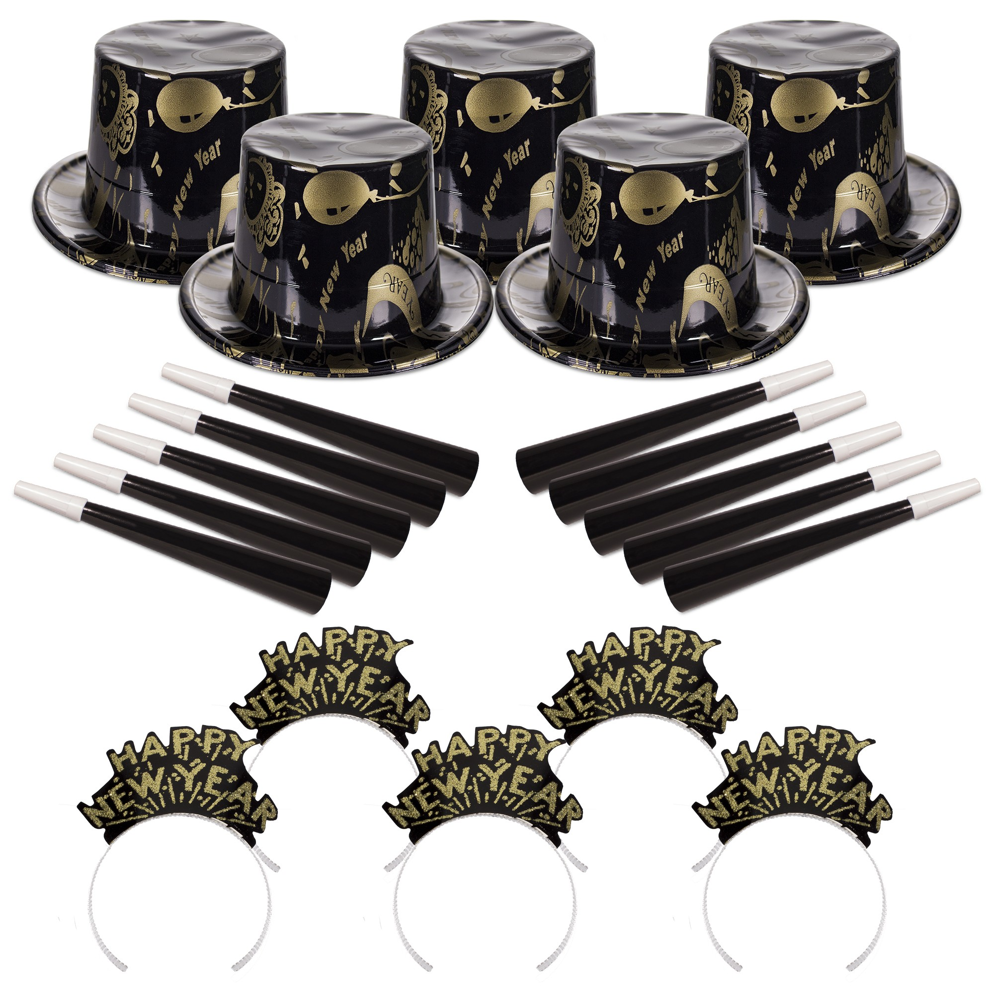 Ebony and Gold New Year's Eve Party Kit for 50 People