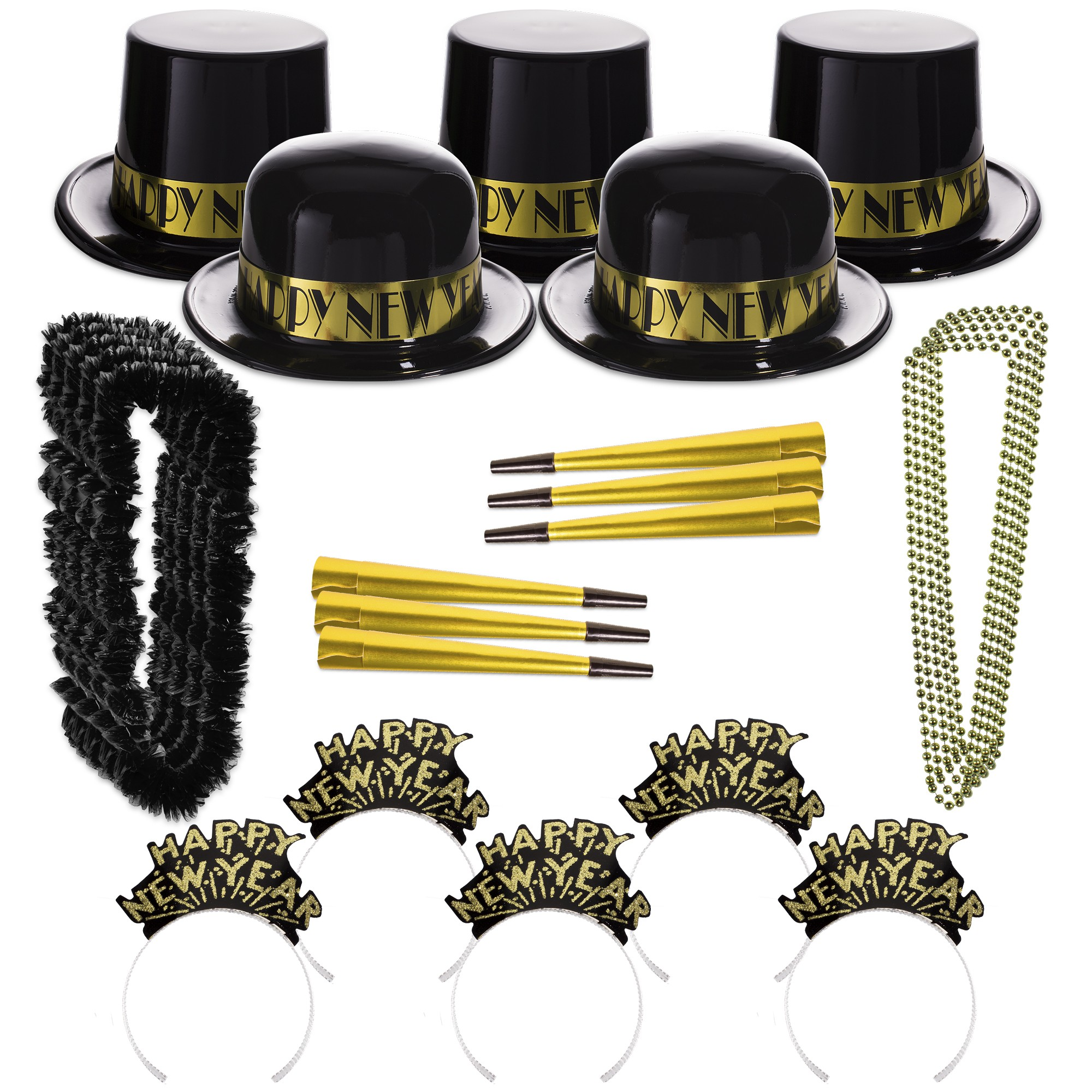 Gold Showboat New Year's Eve Party Kit for 100 People
