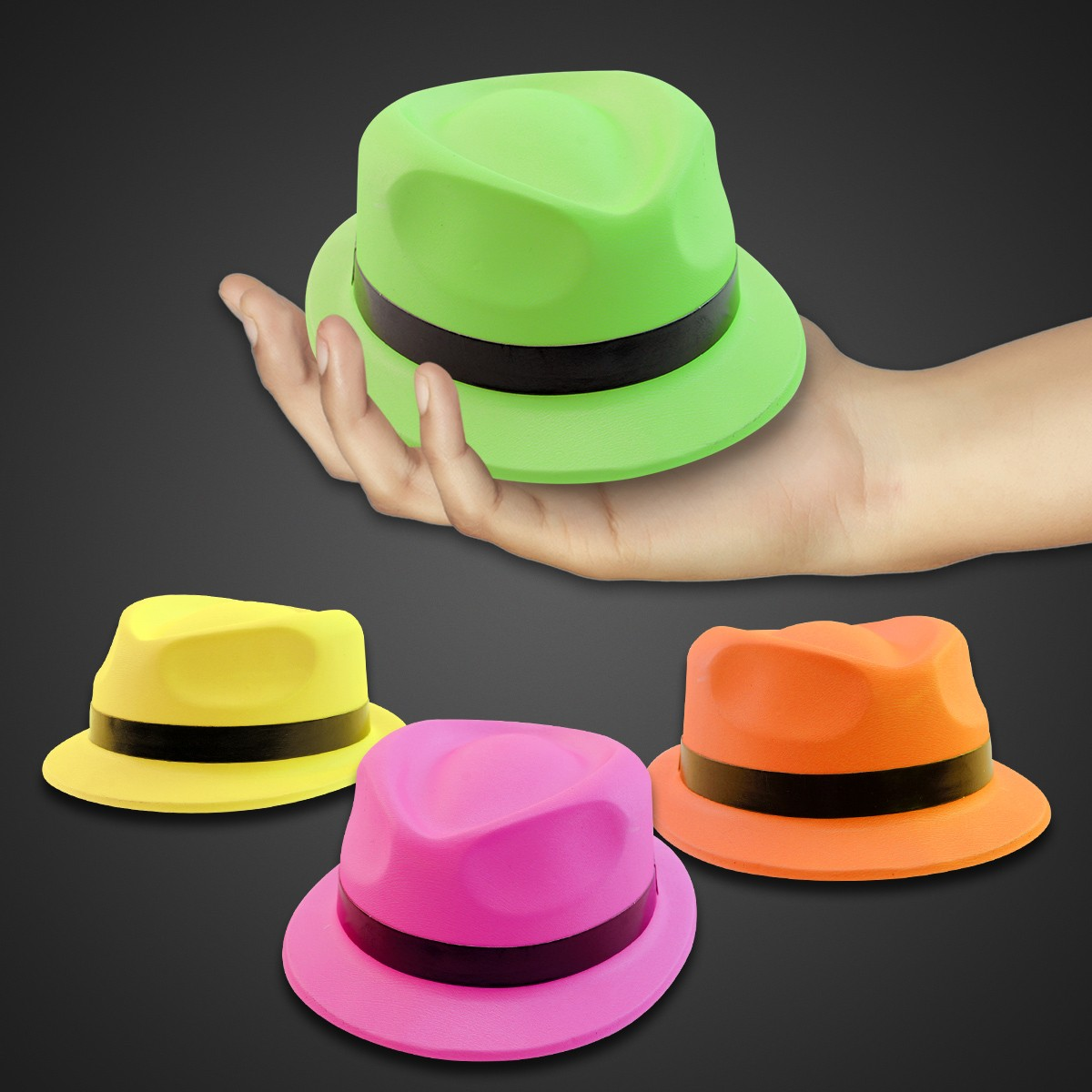 Assorted Color Neon Mini Plastic Fedoras